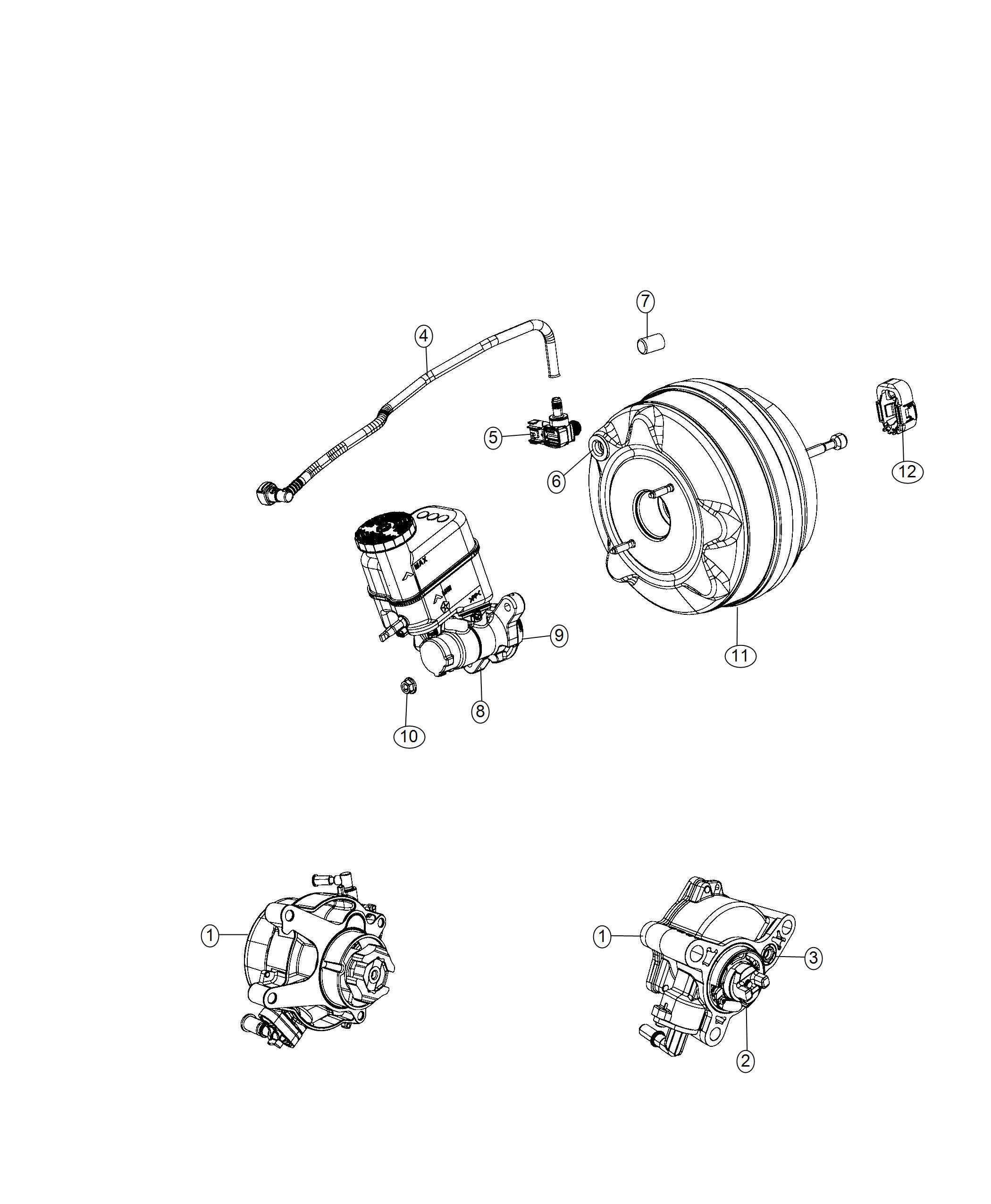 2018 Jeep Cherokee Hose. Brake booster vacuum. Maintenance