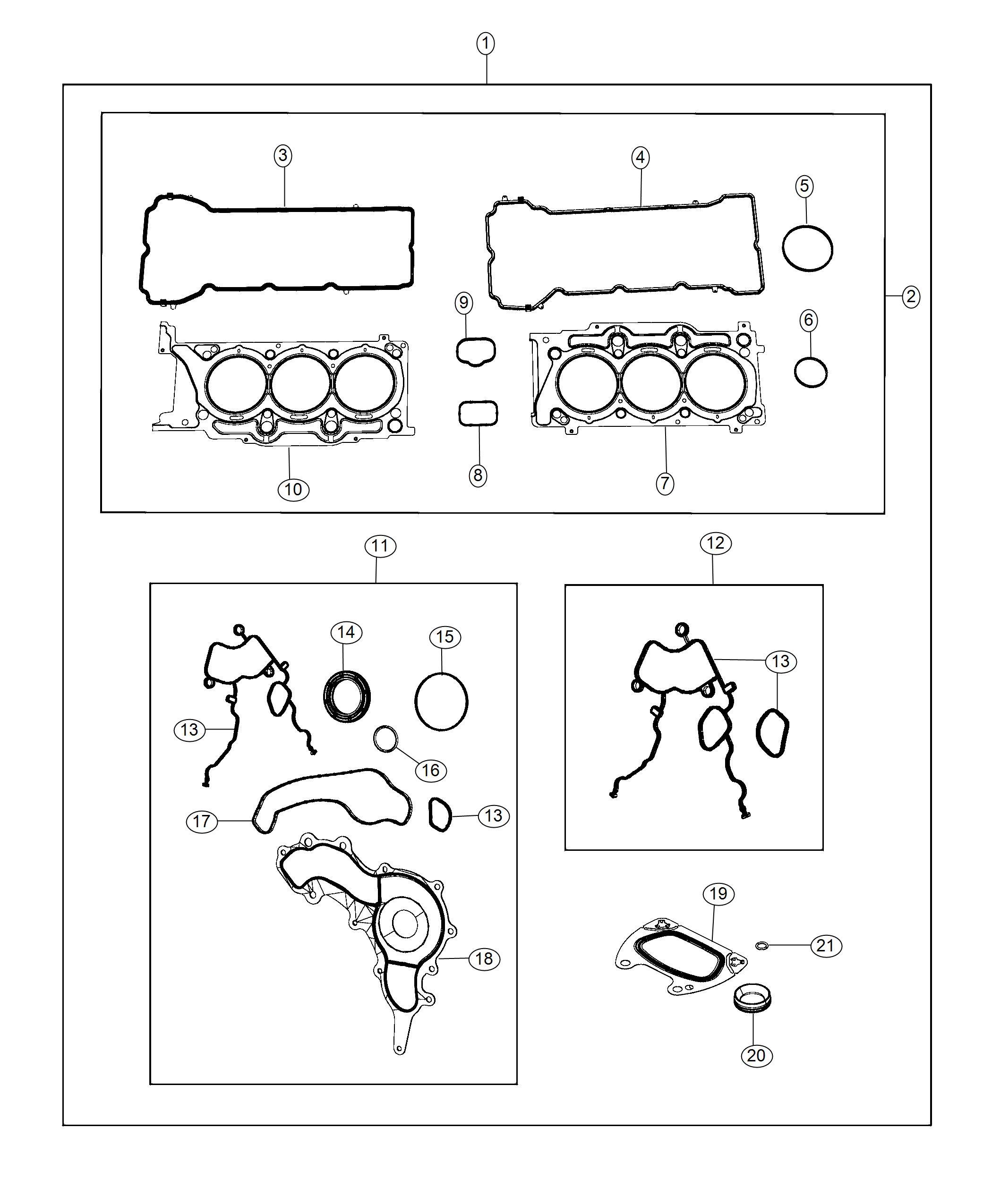 Dodge Journey Gasket Kit Engine Upper Oil Cooler