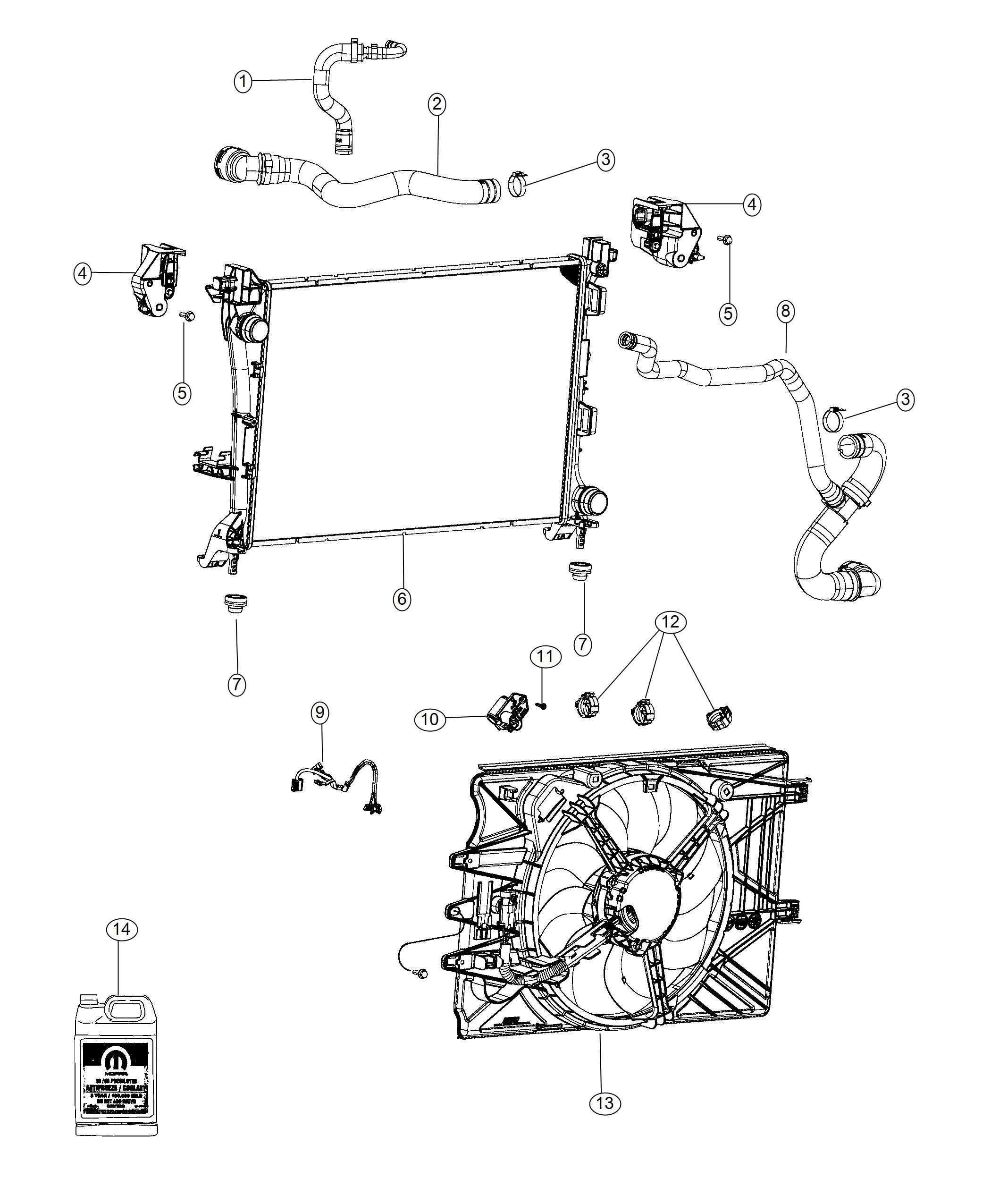 2018 Fiat 500L Radiator. Engine cooling. Maintenance