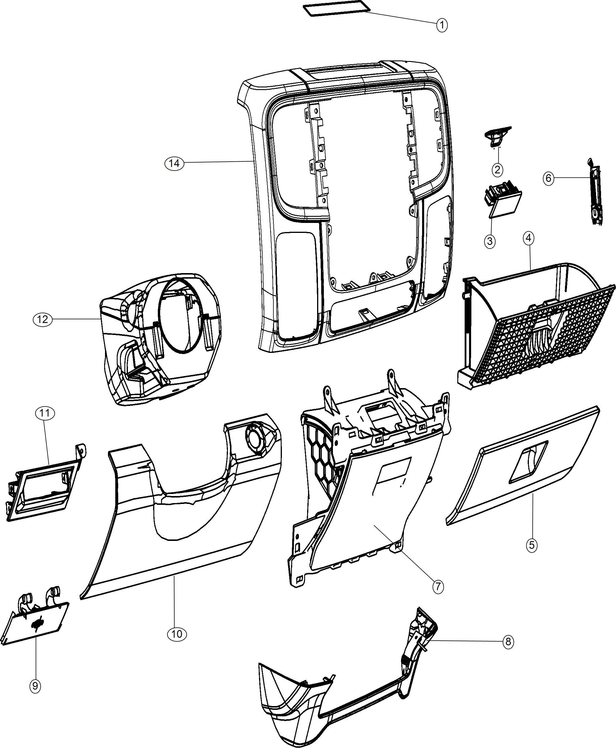 Ram Shroud Steering Column Trim No Description