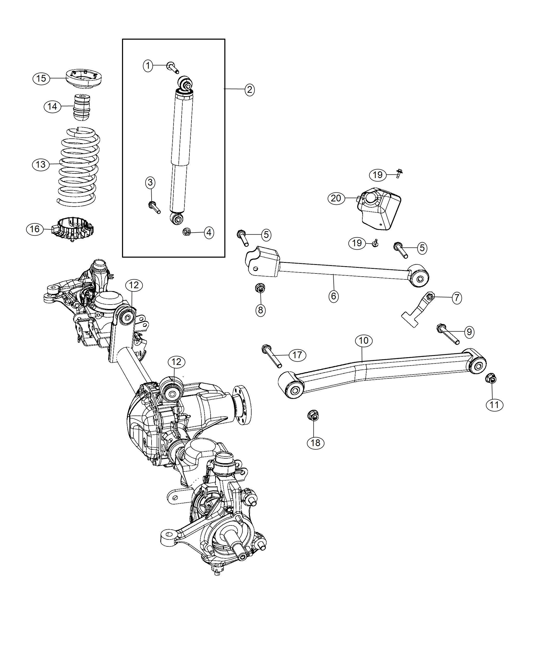Jeep Wrangler Shock Absorber Kit Suspension Front