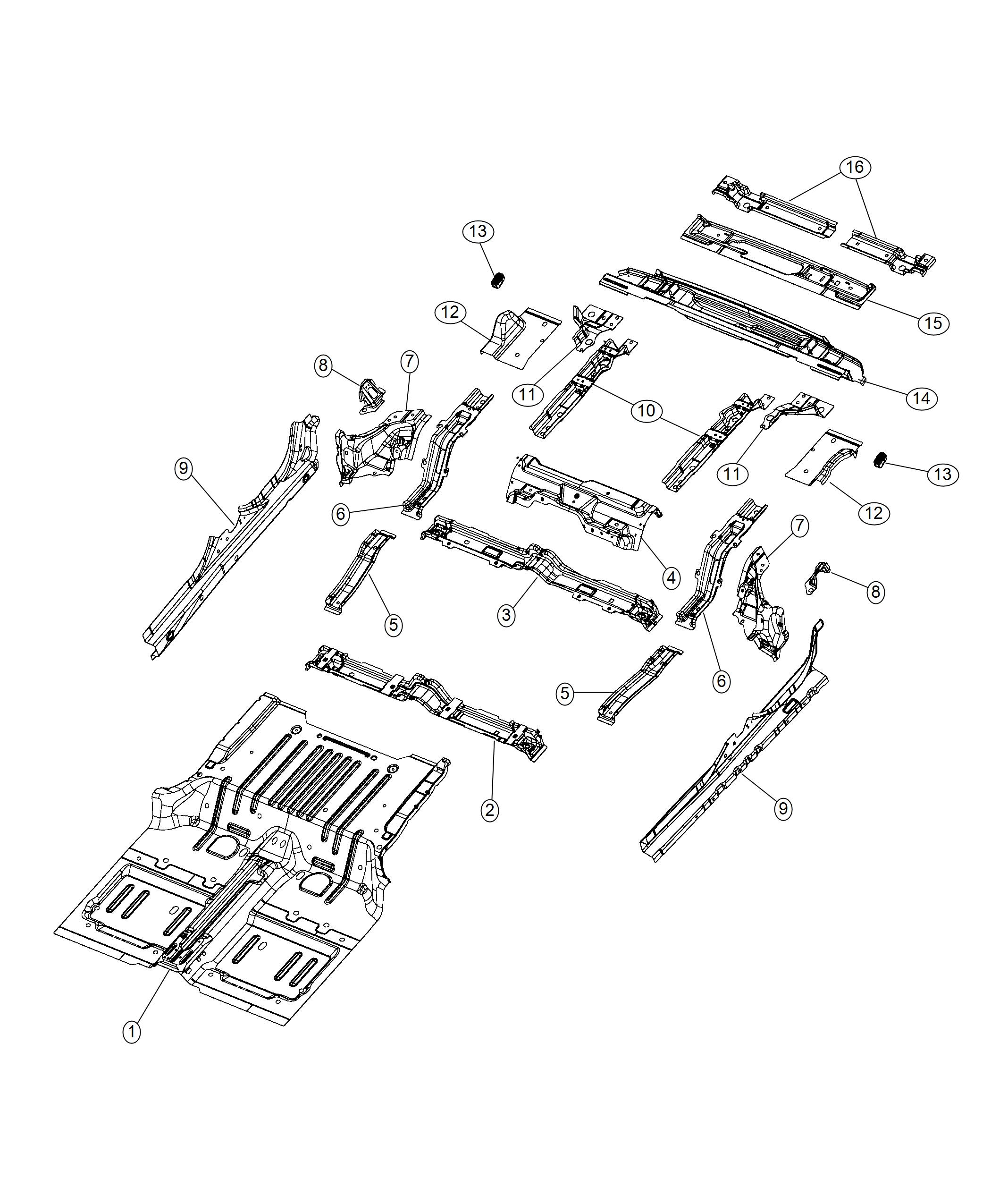 Jeep Wrangler Crossmember. Rear floor. Pan, front, fca