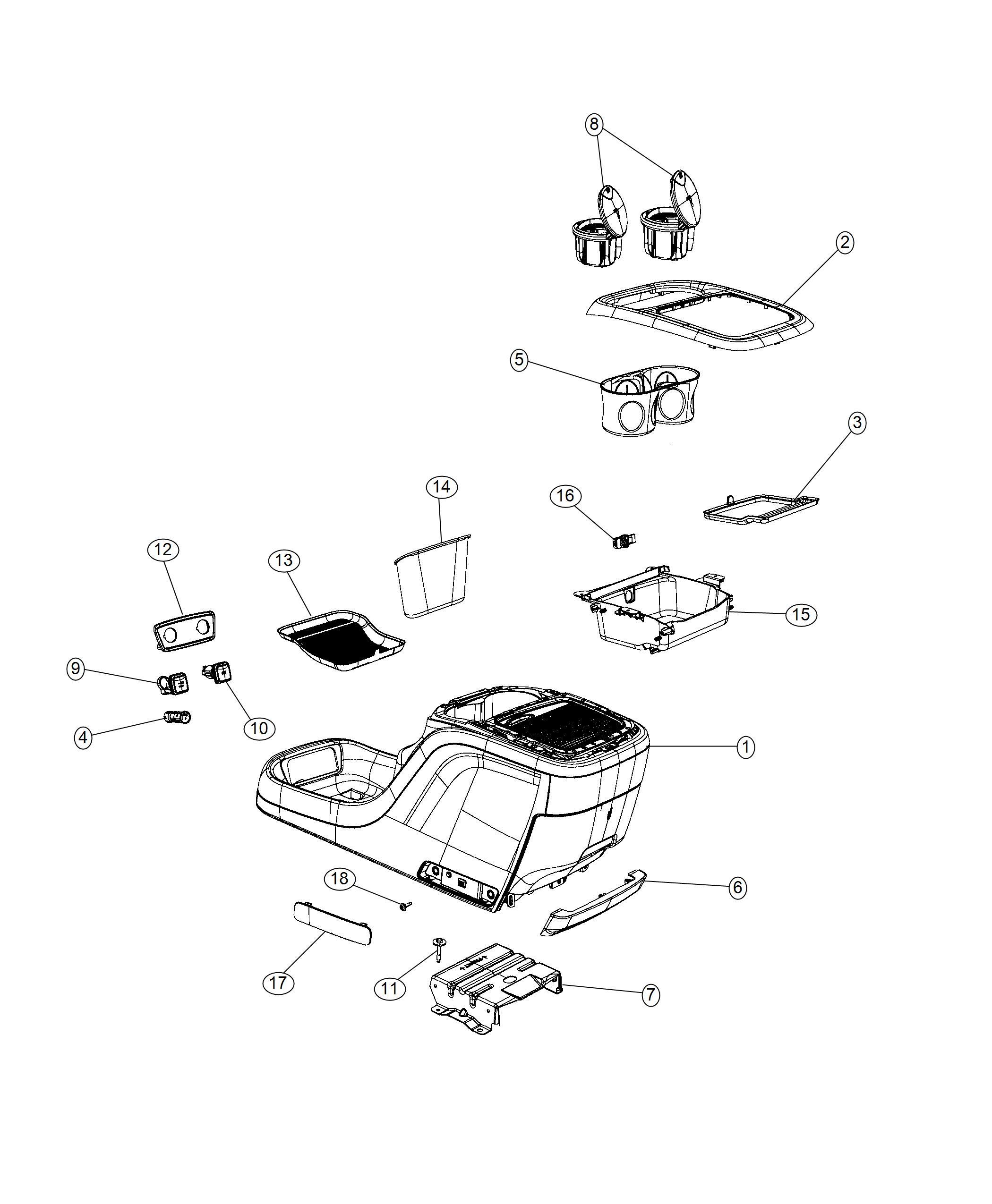 Chrysler Pacifica Console. Floor. Trim: [no description