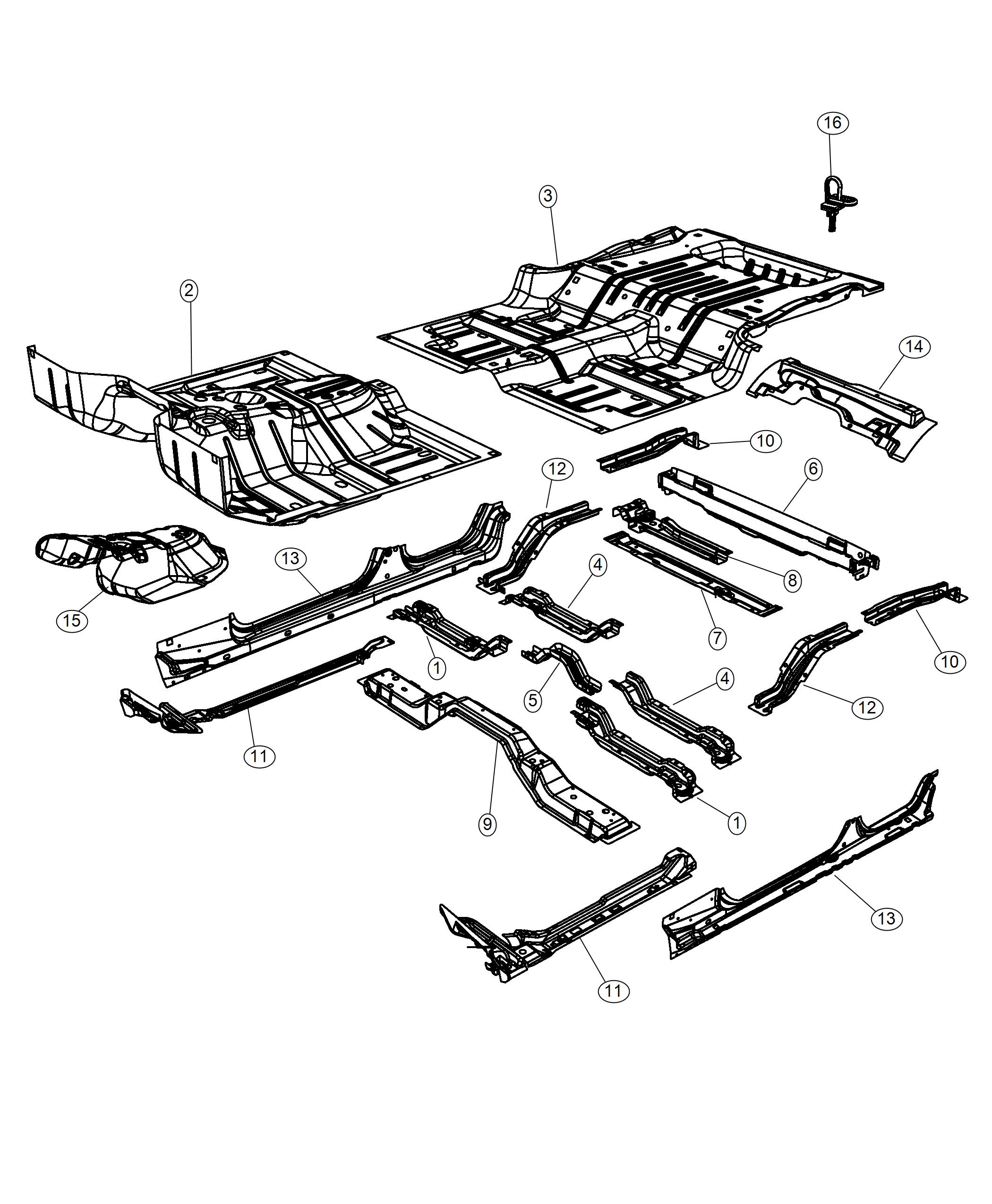 Jeep Wrangler Rail Rear Floor Pan Side Left Export