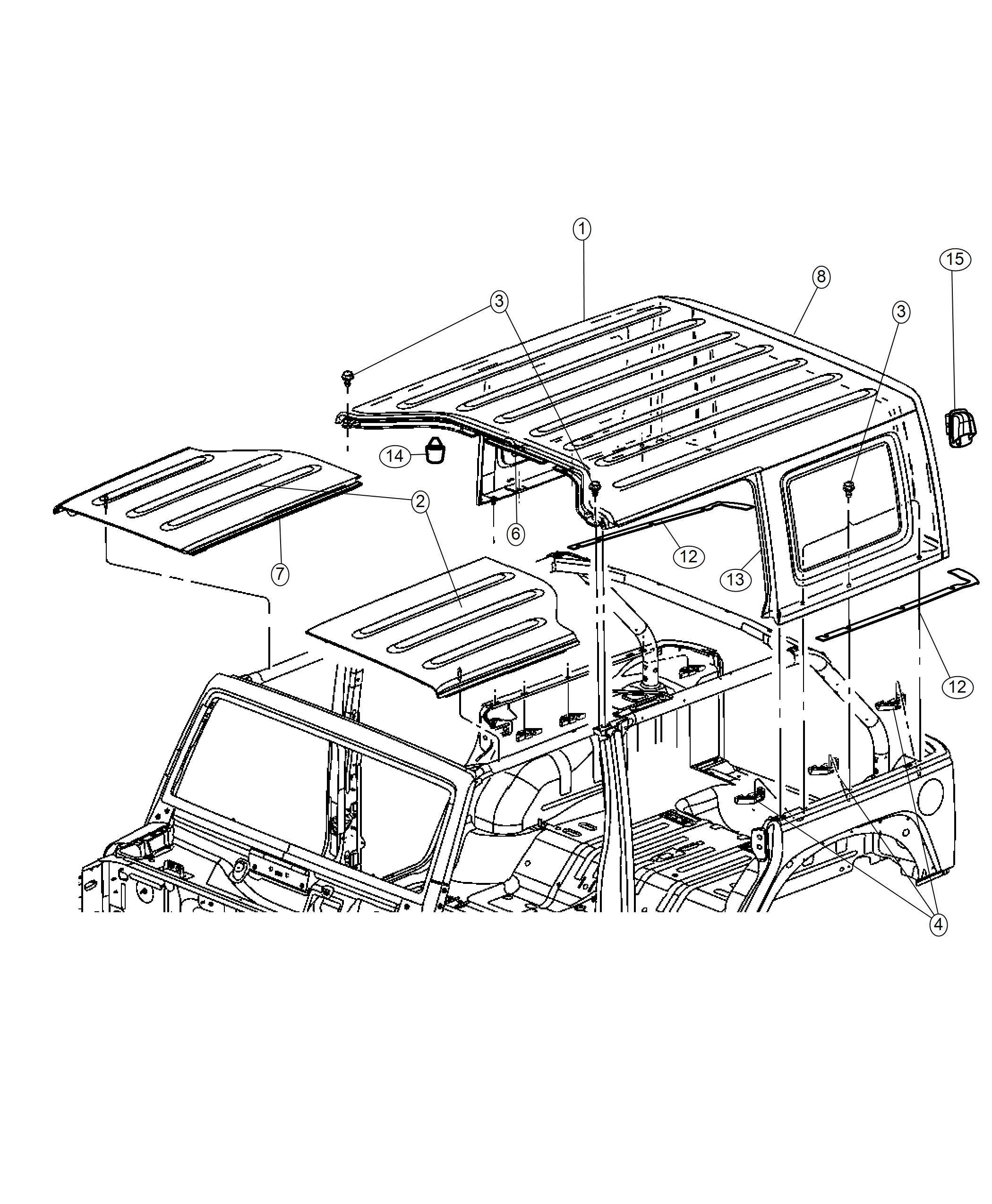 Jeep Wrangler Panel. Targa top. Left. Color: [no