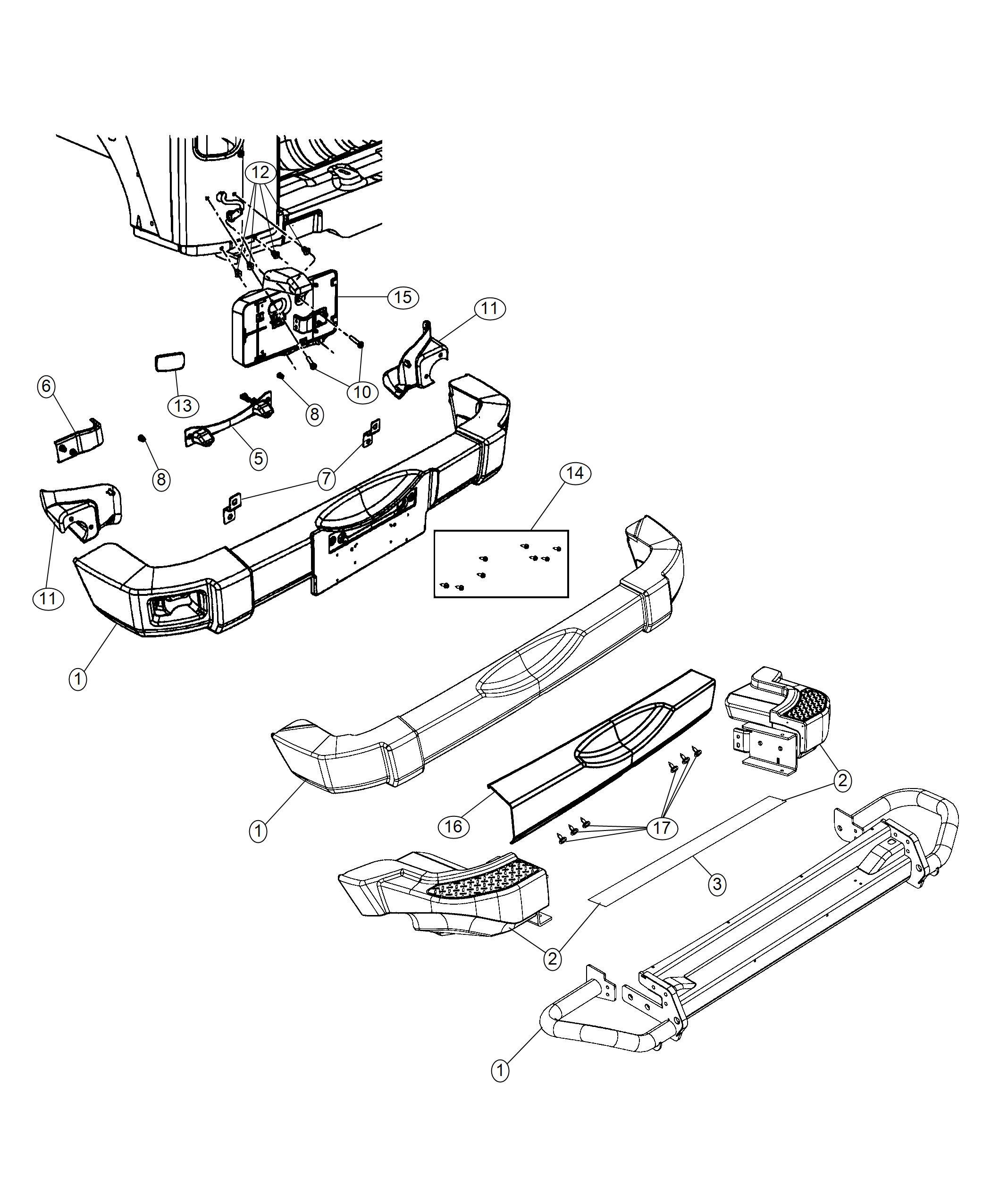 Jeep Wrangler Fastener kit. Rear bumper. [mopar hd rear