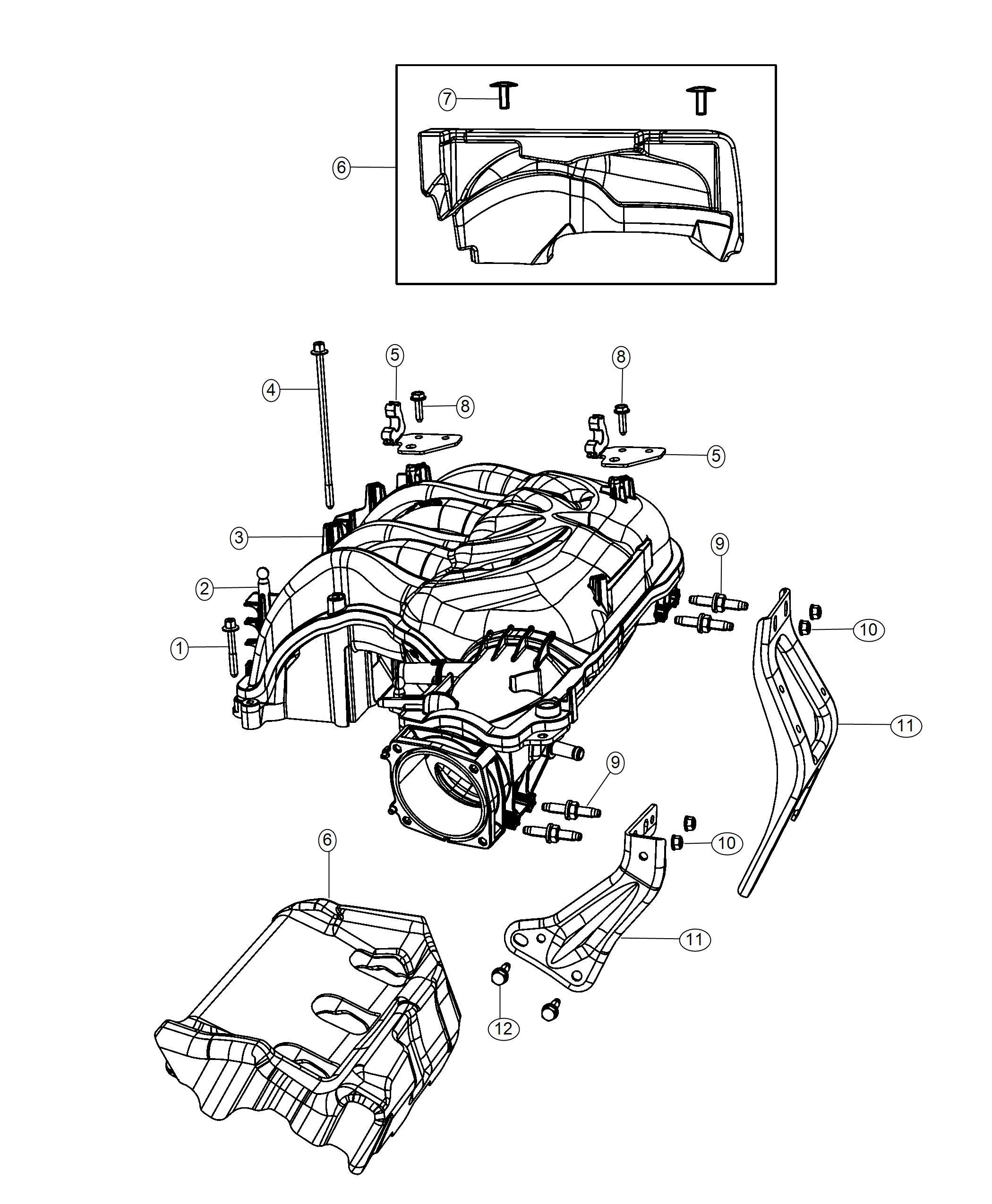 Dodge Ram Bracket Intake Manifold Front Rear