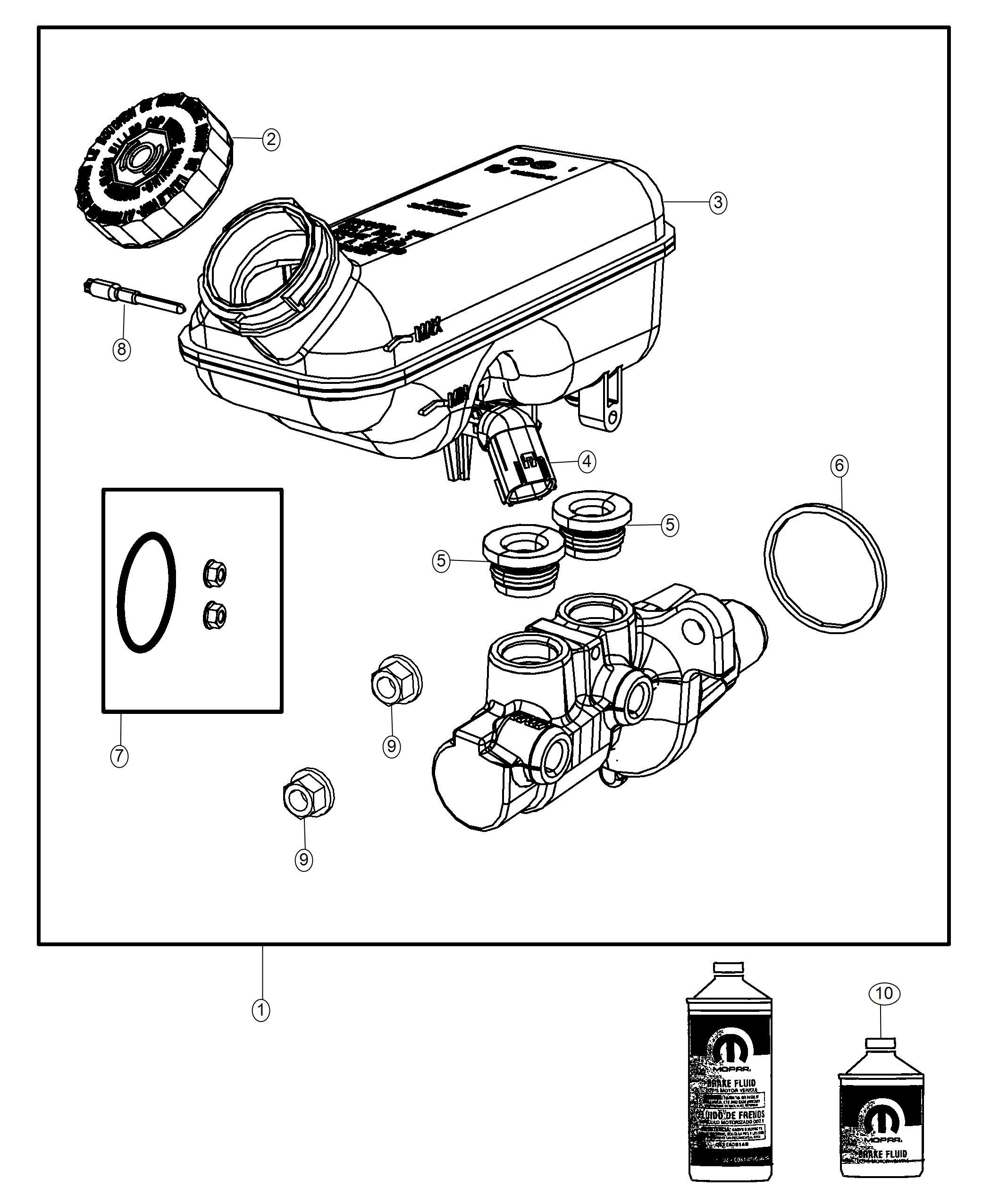 2018 Dodge Grand Caravan Master cylinder. Brake. Wheel