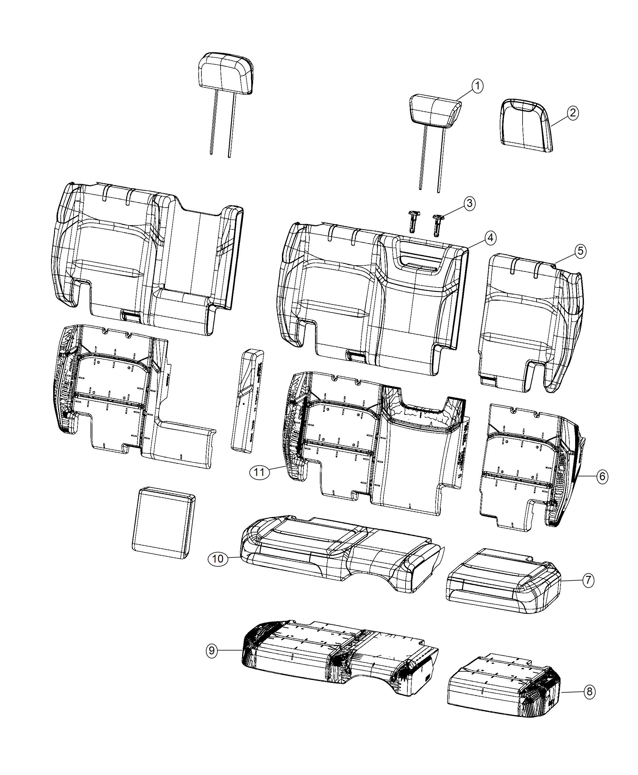 Jeep Wrangler Cover. Rear seat cushion. Trim: [prem cloth