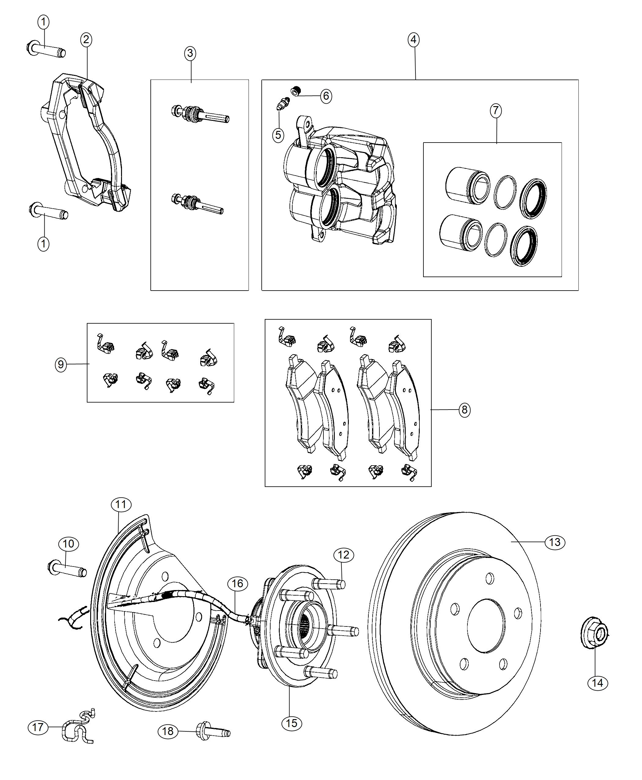 Ram 1500 Pin kit. Disc brake. [anti-lock 4-wheel disc