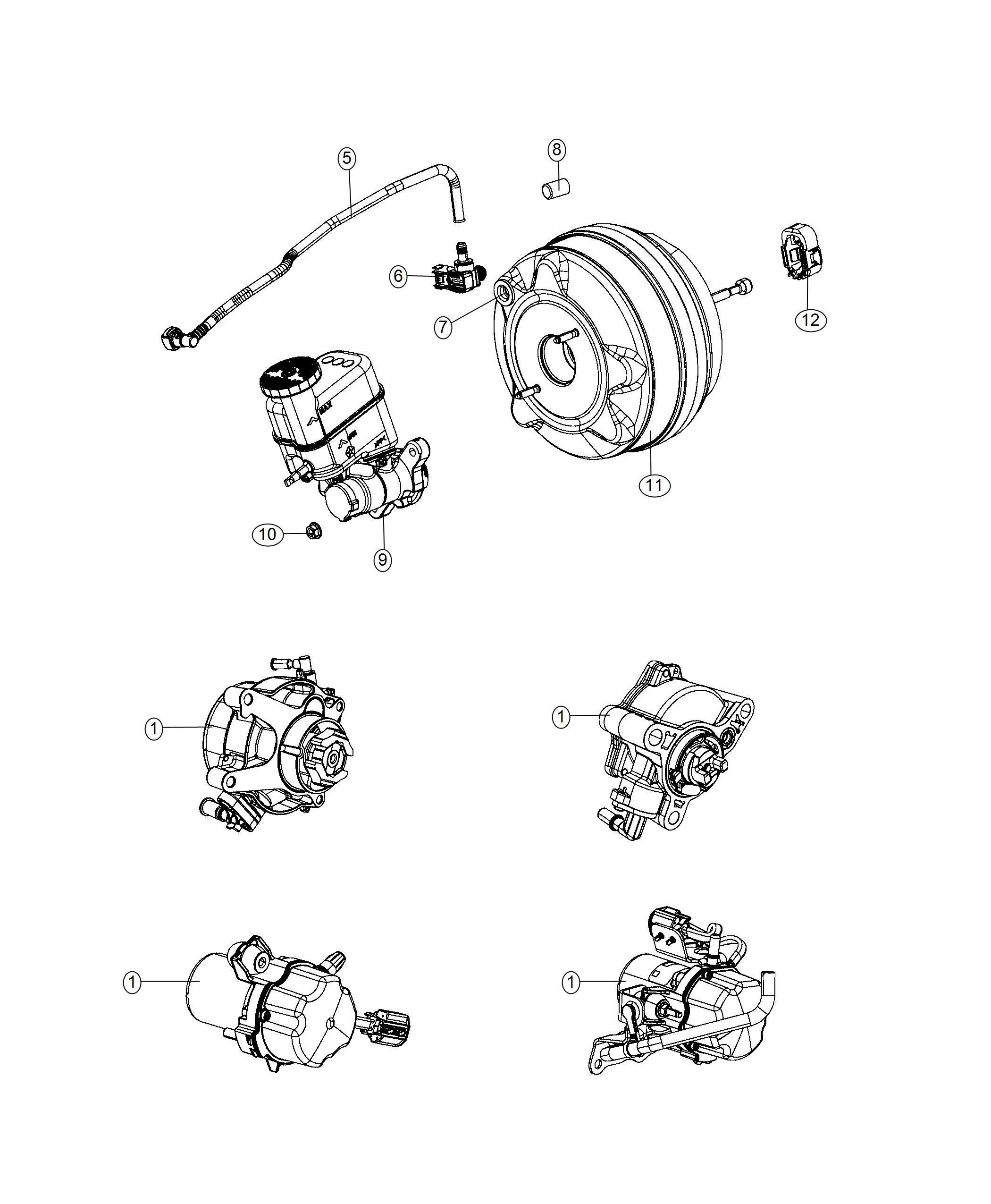 Jeep Cherokee Hose Brake Booster Vacuum Pump Power Fca