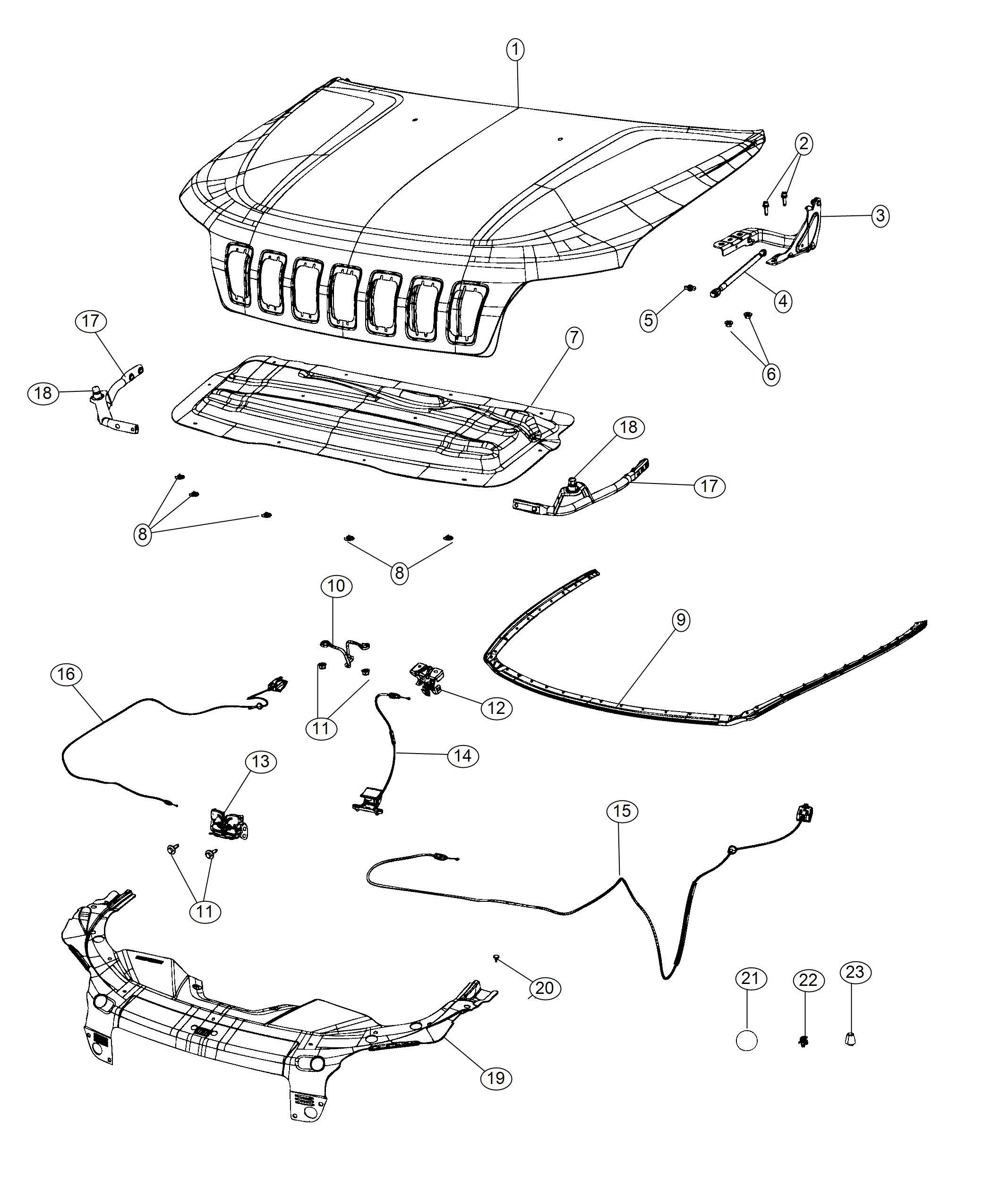 Jeep Cherokee Bumper Hood Front Bumper Reinforcement Module Fascias Exterior