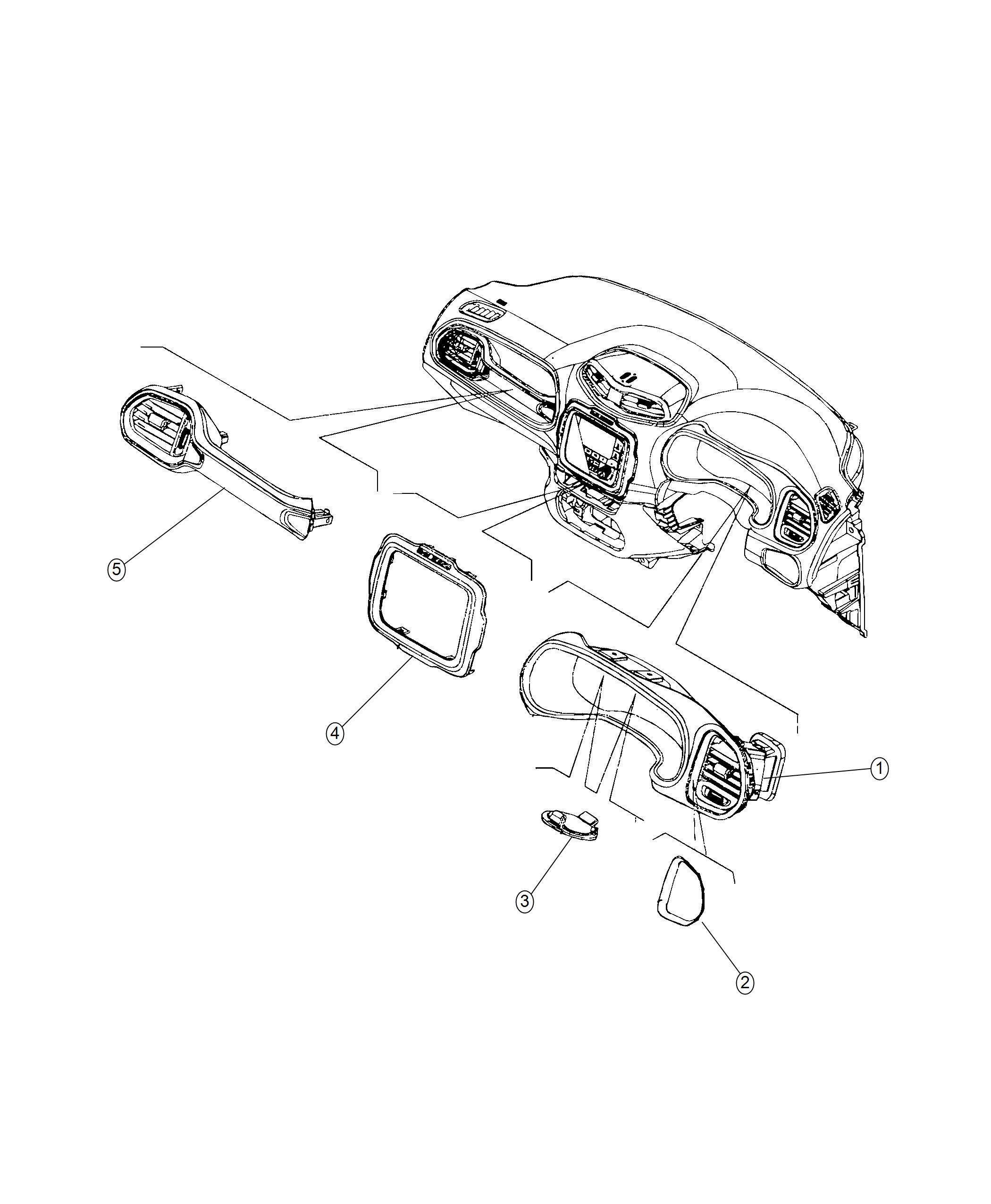 Jeep Renegade Bezel. Instrument panel. Center. Trim: [no