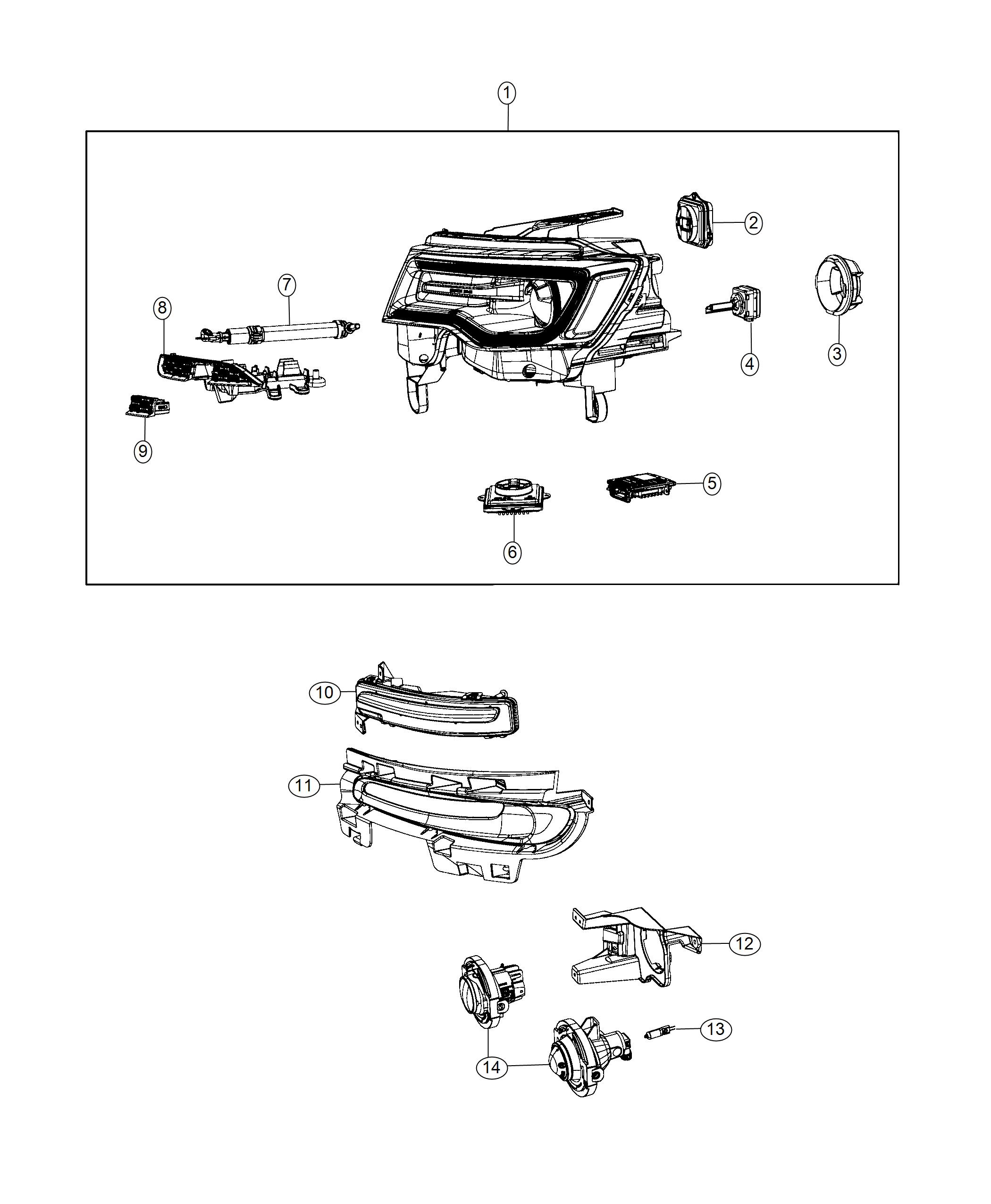 2015 Jeep Grand Cherokee Headlamp. Right. Export. Adaptive