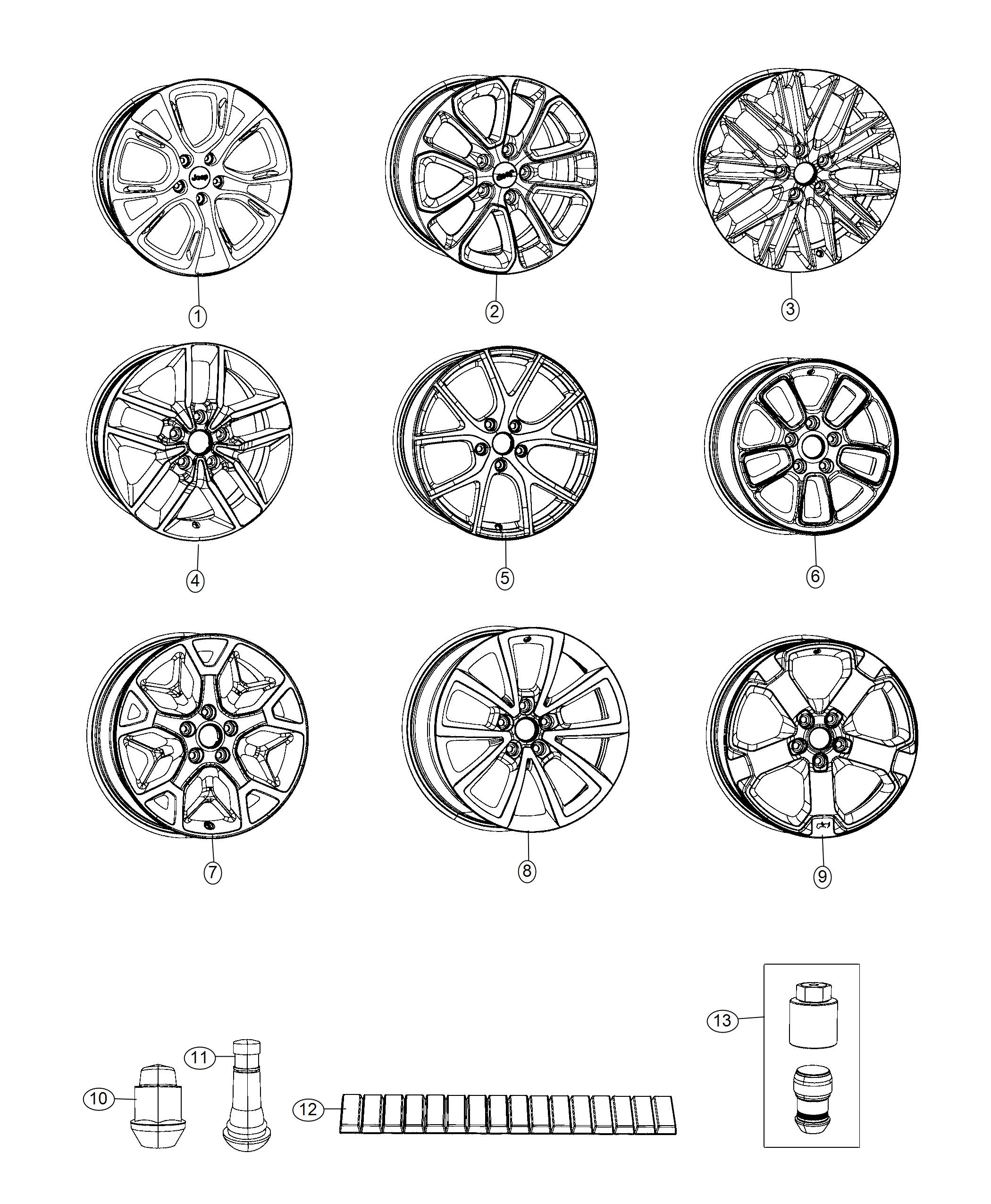 2018 Jeep Grand Cherokee Wheel. Aluminum. Front or rear