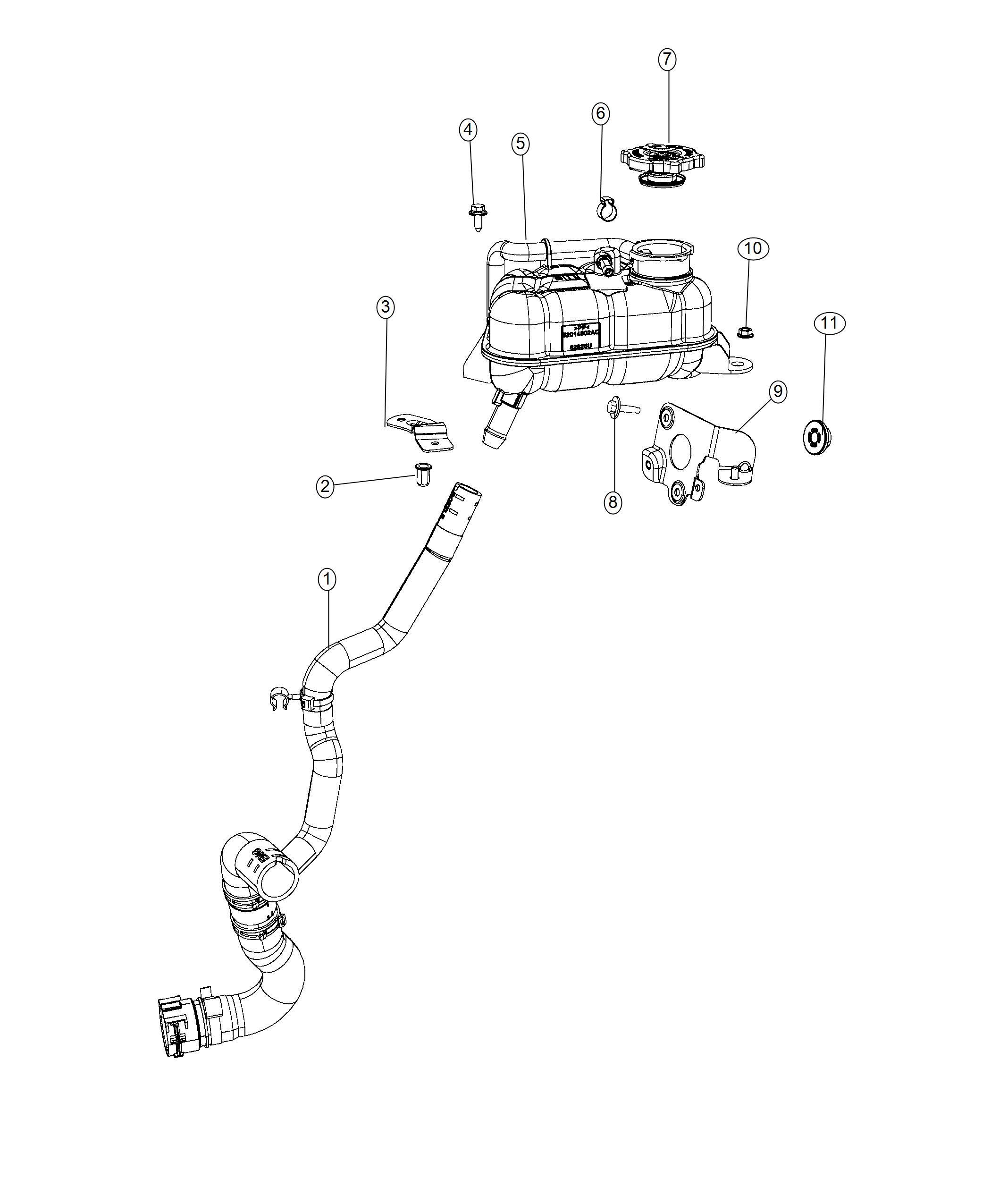 2018 Fiat 500E Hose. Radiator outlet. Cooling, maintenance