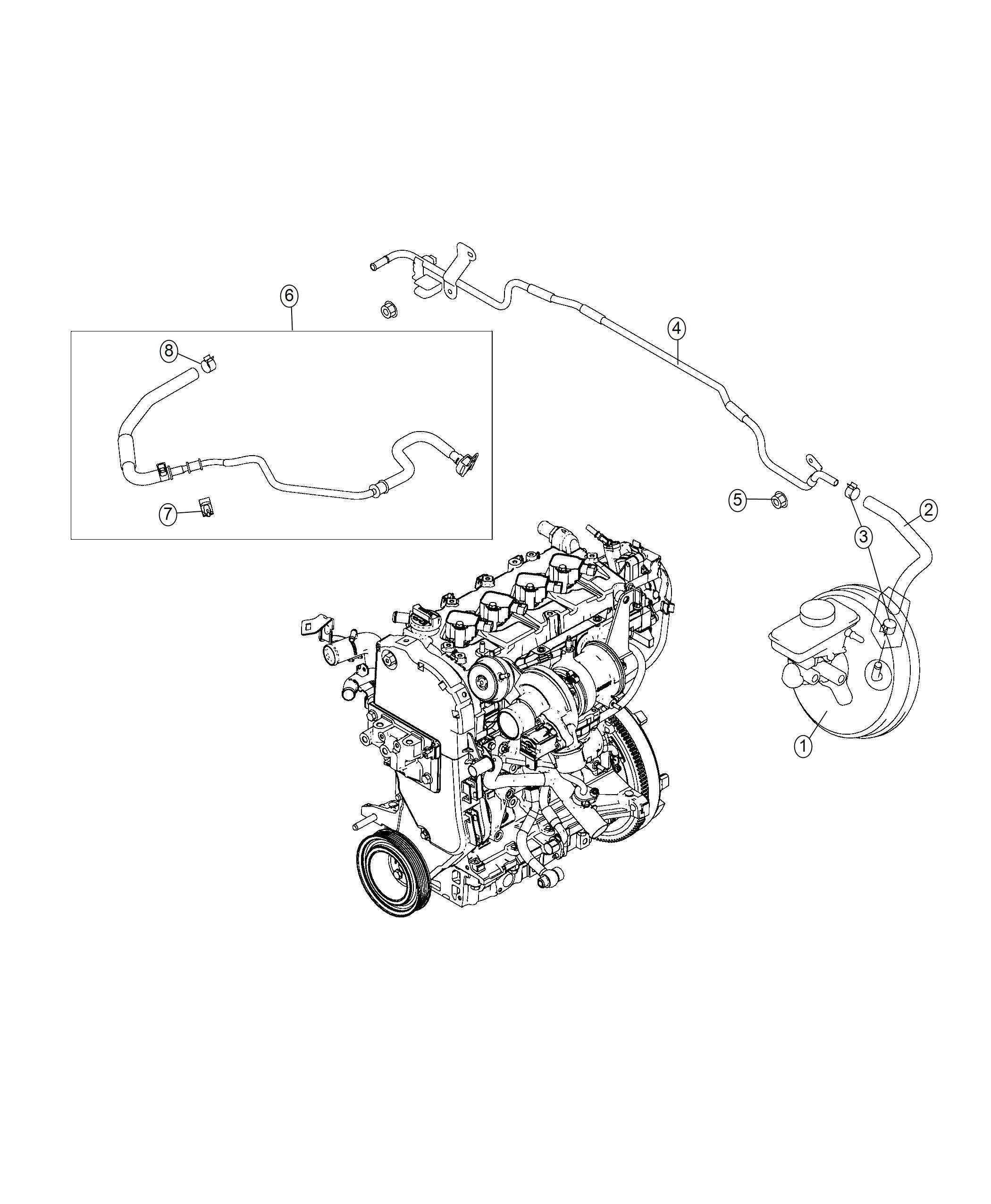 2019 Fiat 124 Spider Hose. Brake booster vacuum. Hoses