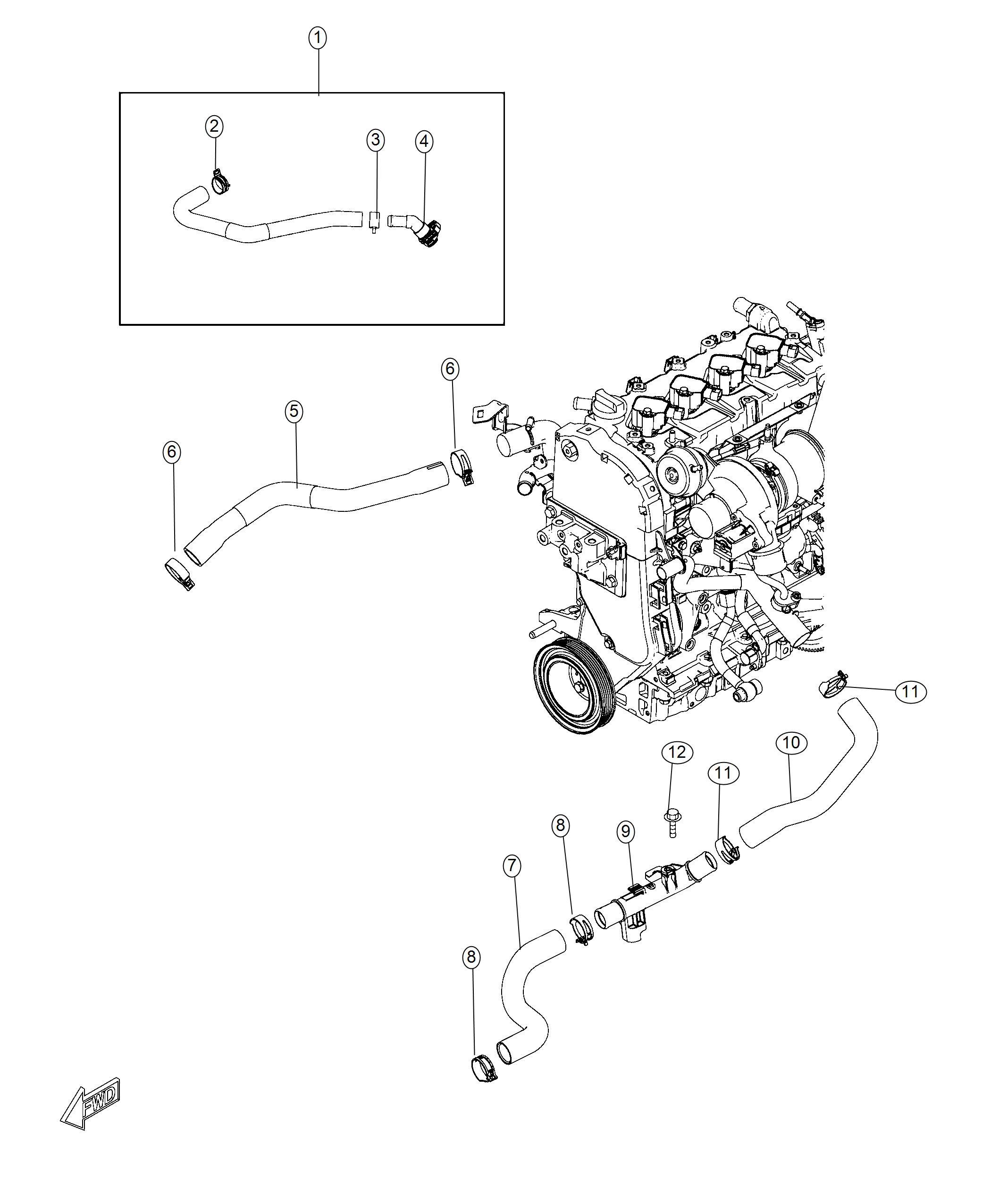 Fiat 124 Spider Hose Radiator Inlet Cooling