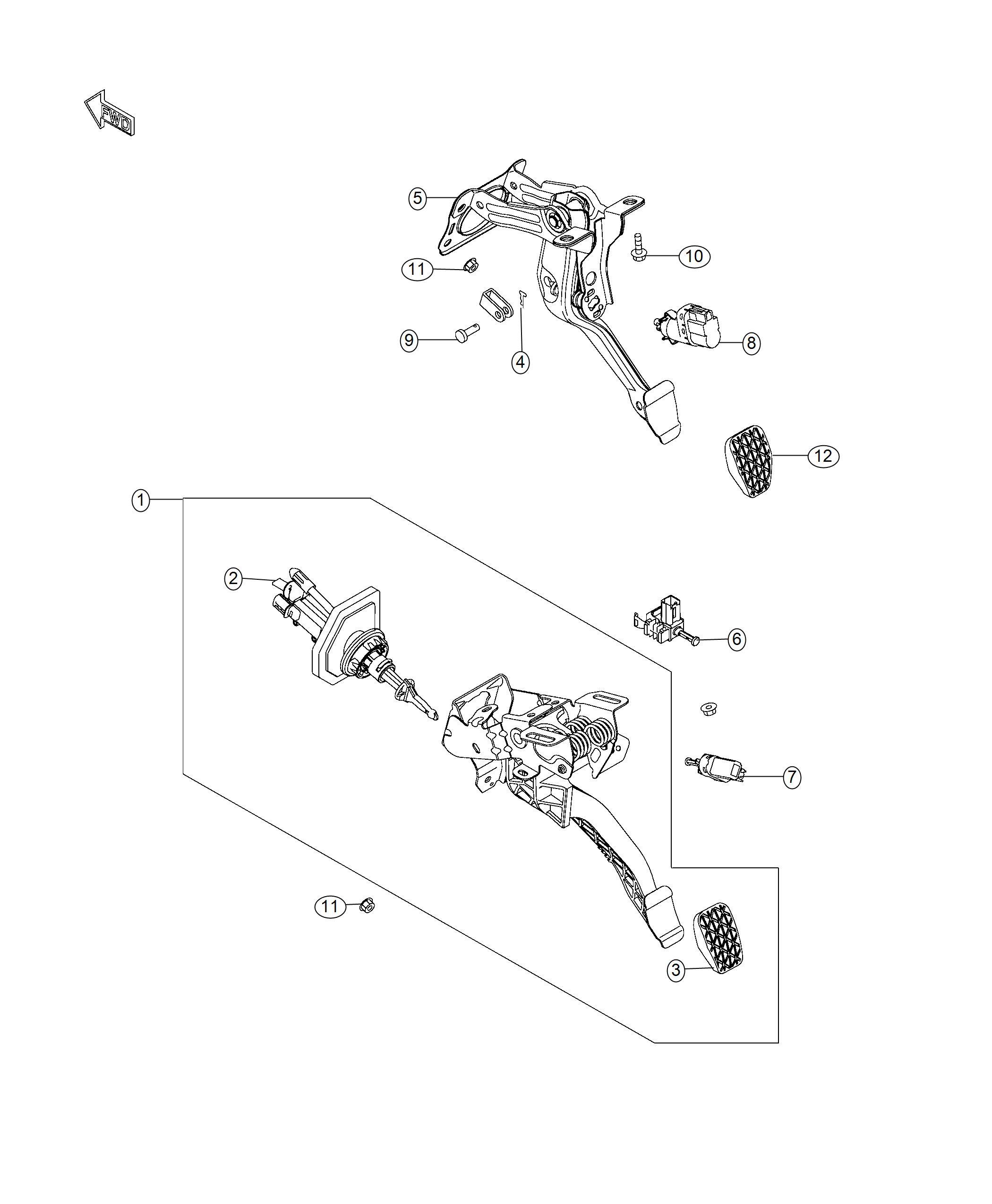 Fiat 124 Spider Pad. Brake pedal. [6-spd manual rwd