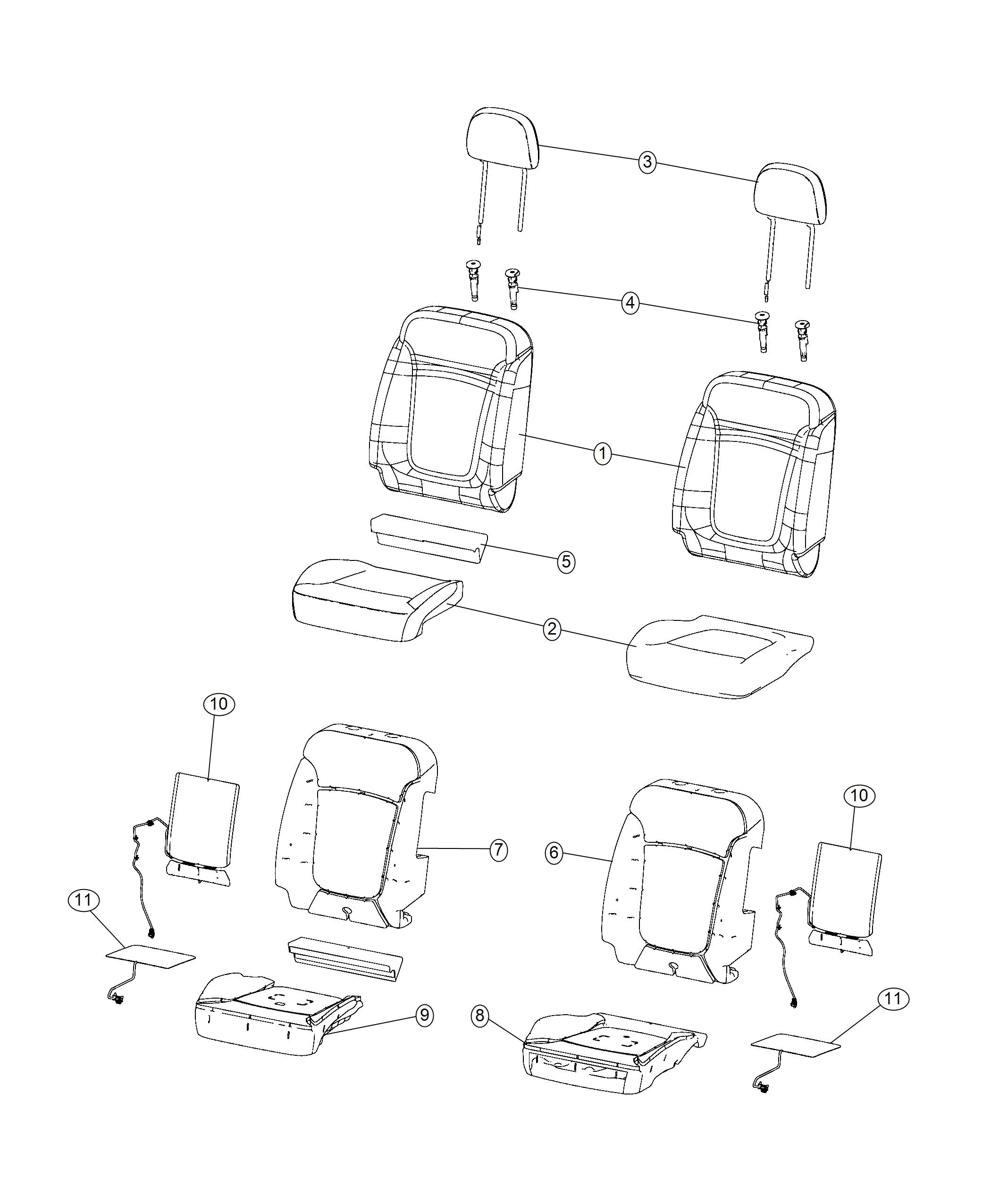Jeep Renegade Foam. Seat back. Front. Left. [do not use