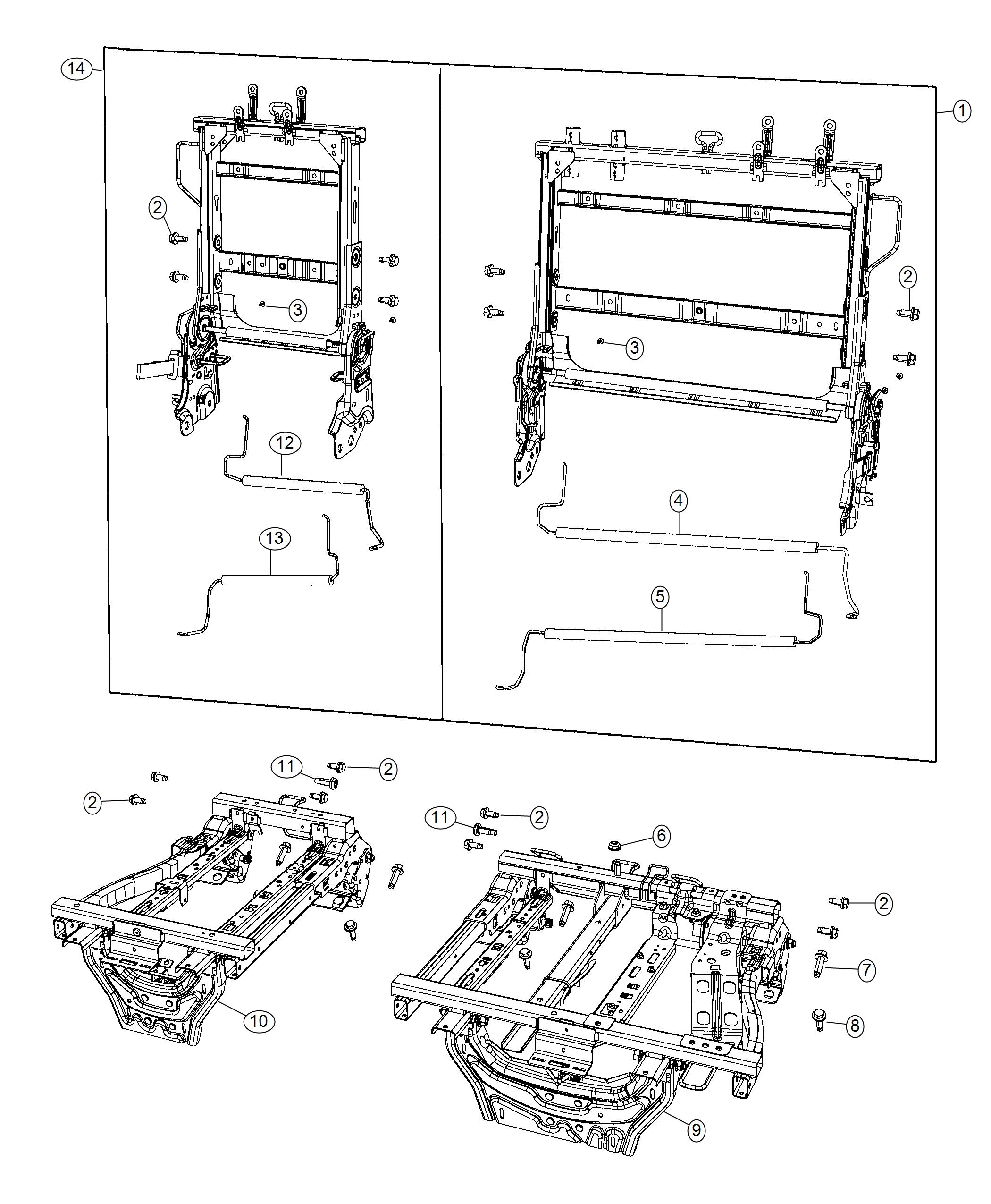 Chrysler Pacifica Frame. Seat cushion 40%. [seat parts