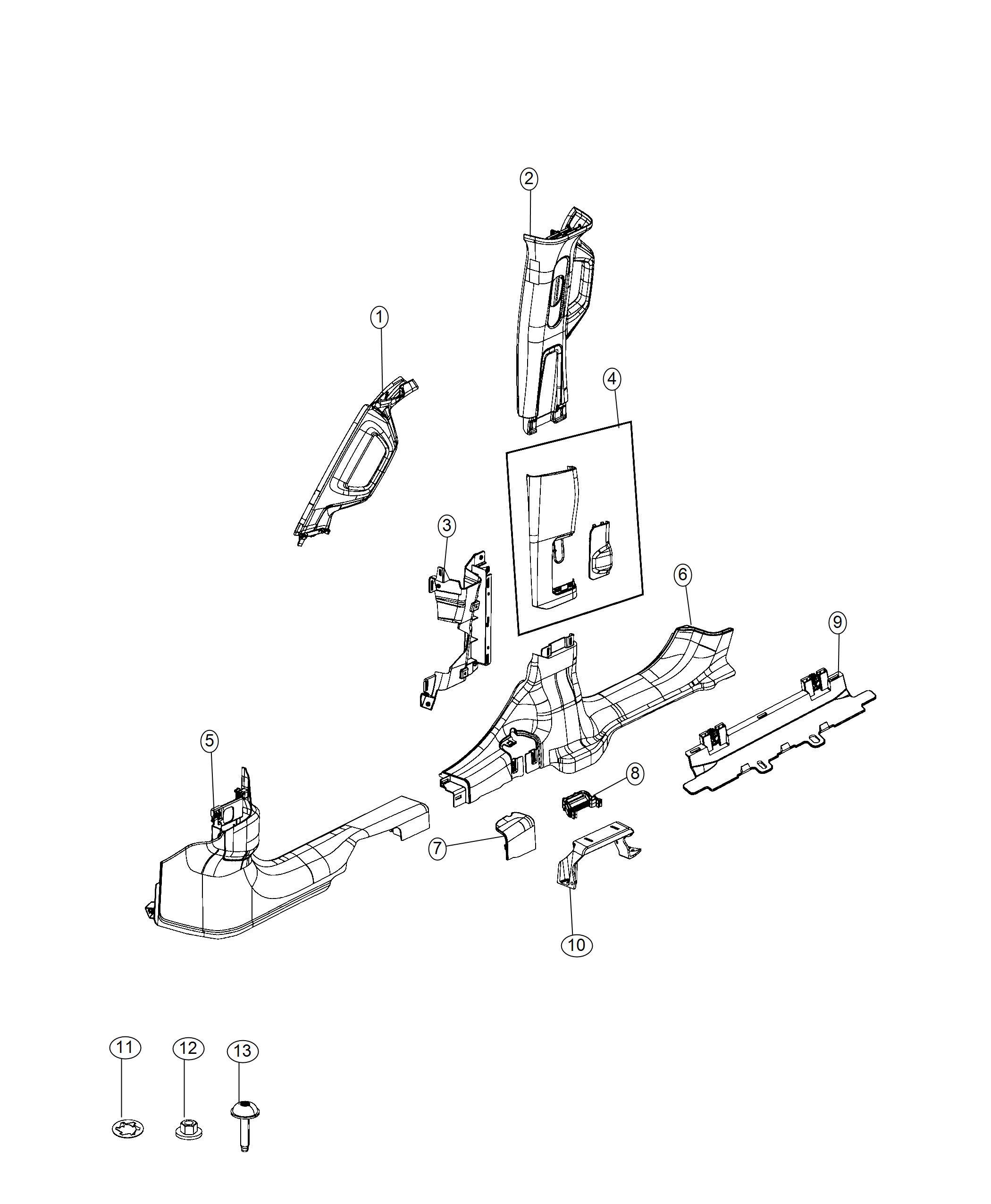 Jeep Wrangler Molding B Pillar Right No Description