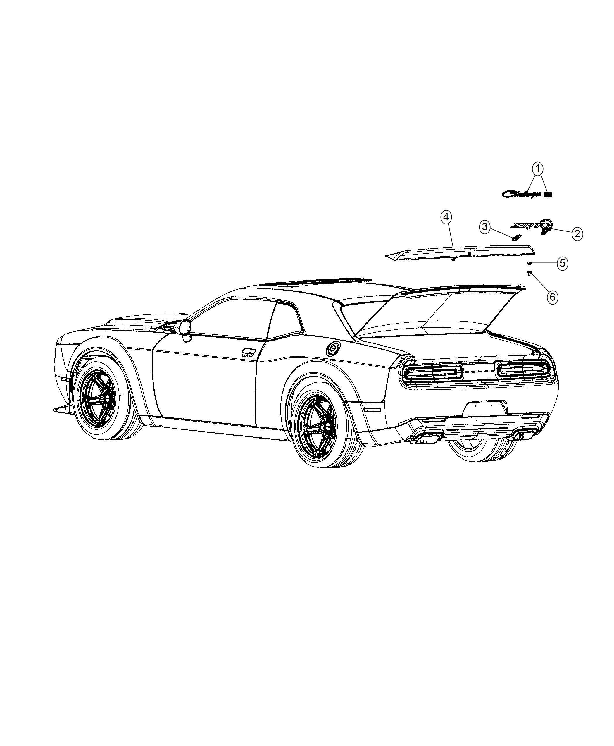 Dodge Challenger Nameplate. Srt hellcat. [rear spoiler