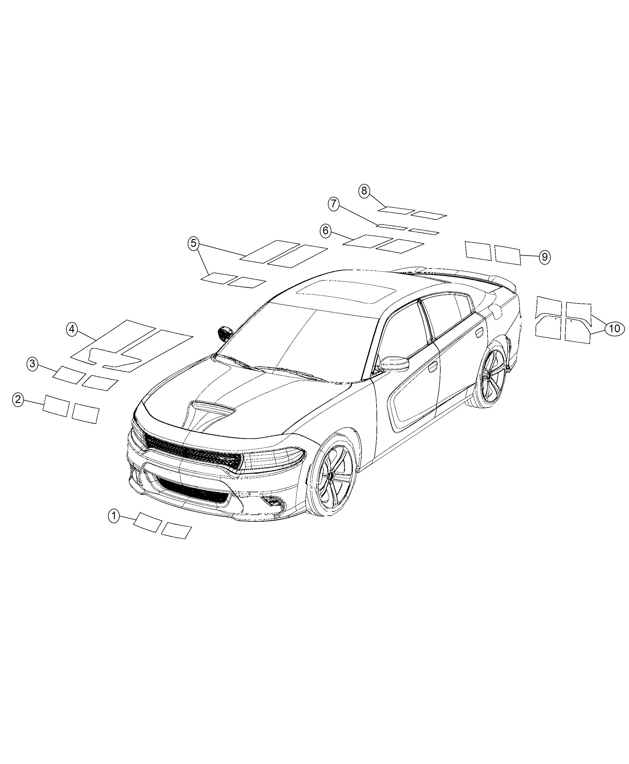 Dodge Charger Decal. Hood. [mopar dual stripes-gunmtl low