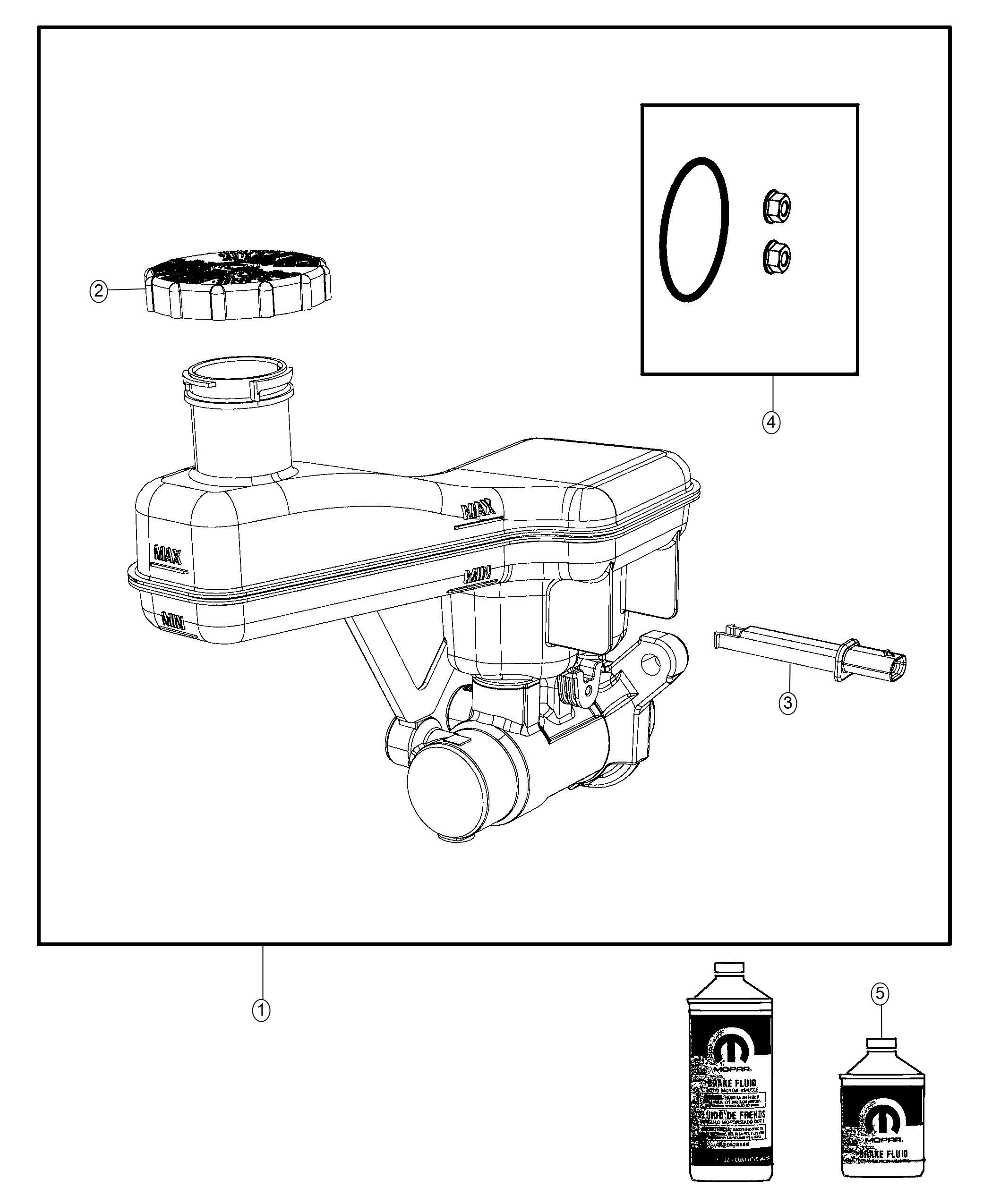 2017 Chrysler PACIFICA L HYBRID Master cylinder. Brake