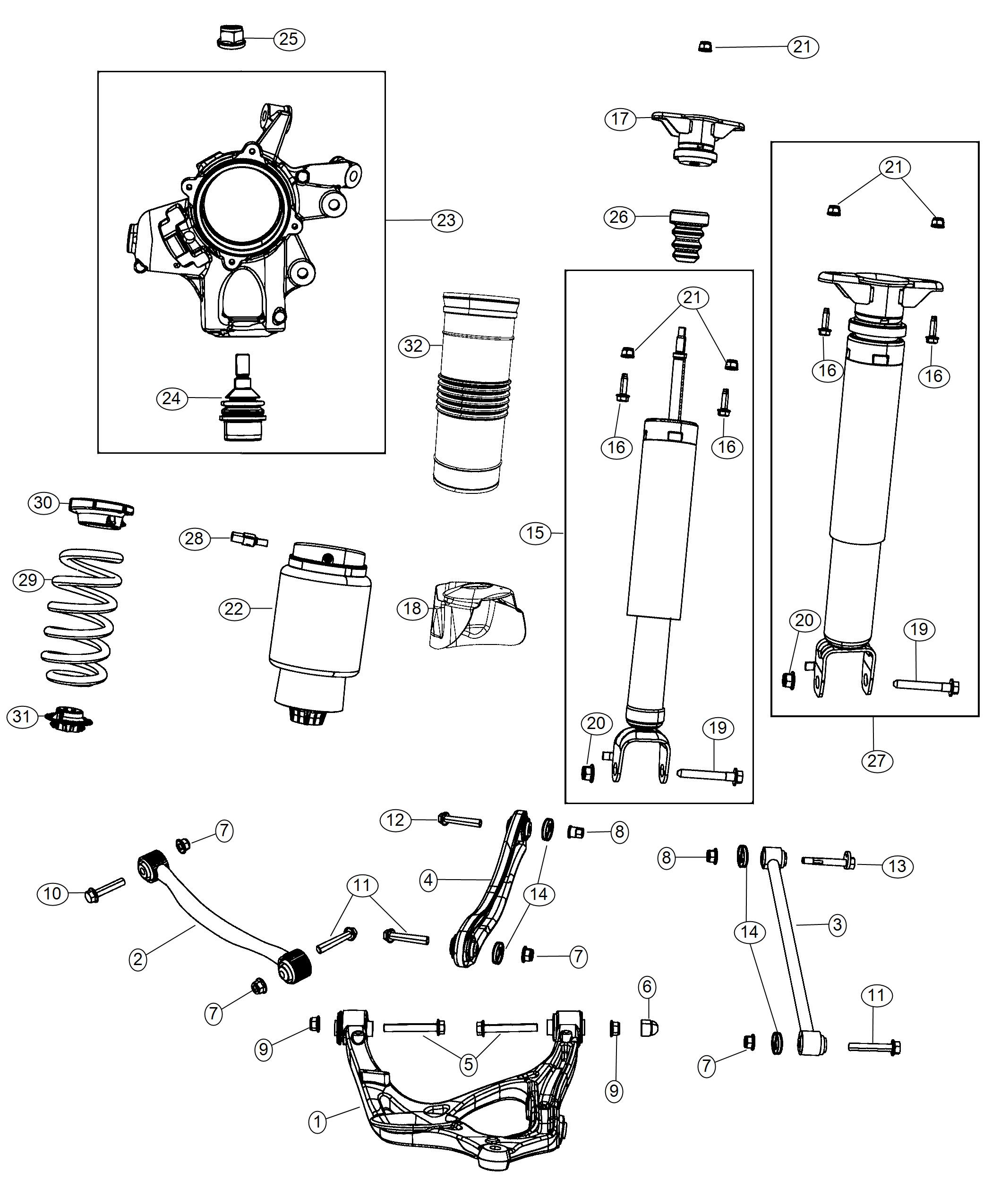 2013 Jeep Grand Cherokee Spring assembly. Air suspension
