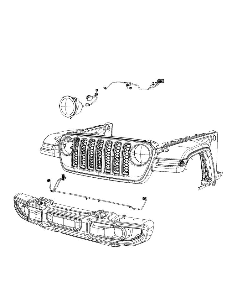 Jeep Wrangler Wiring. Front end module, headlamp. [front