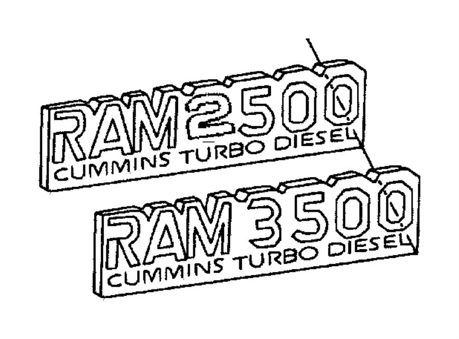 Dodge Ram 2500 Nameplate. Front fender. Ram 3500 cummins