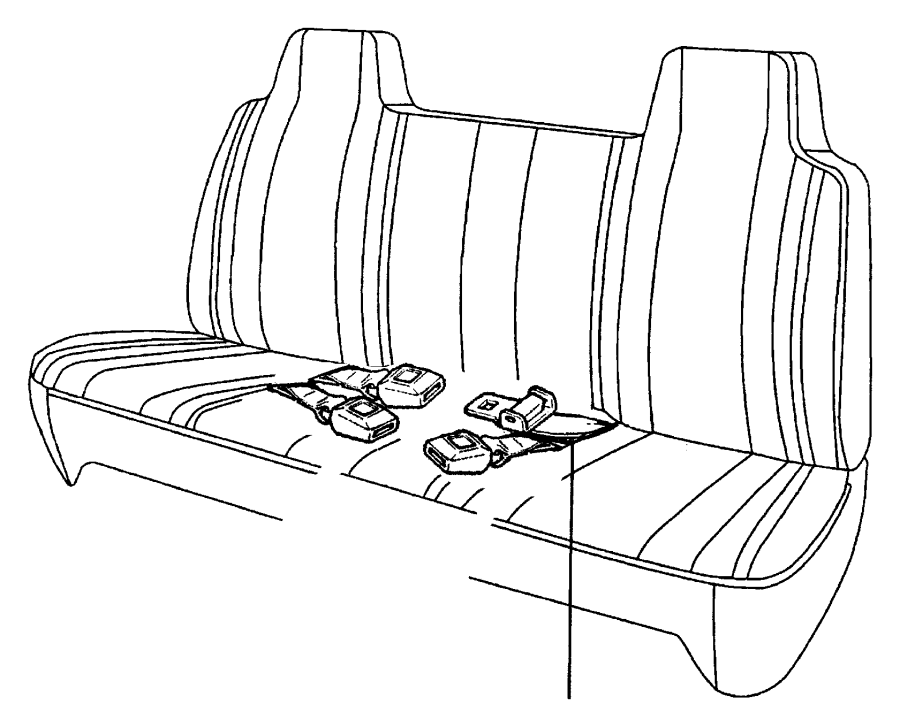 1999 Dodge Ram 1500 Lap belt, seat belt. Two buckles, used