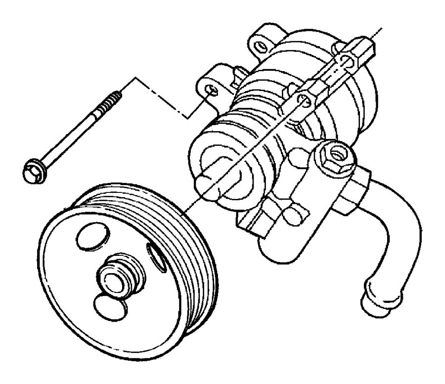 1995 Dodge Dakota Pump. Power steering. Without pulley
