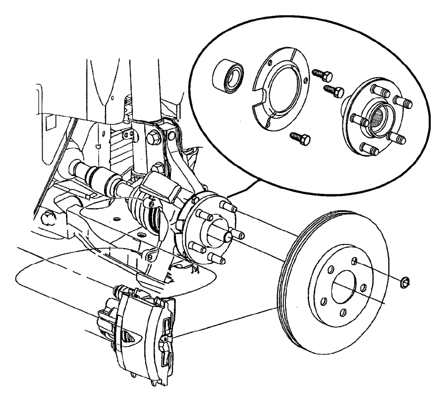 2001 Dodge Neon Bearing. Wheel. Discbrastripe, cassetires