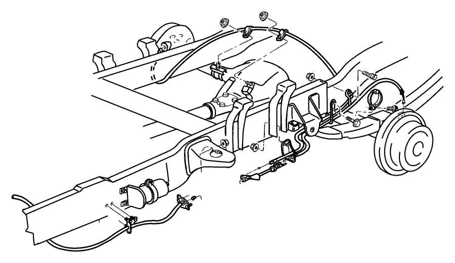 2001 Dodge Ram 2500 Tensioner. Parking brake cable. Adjust