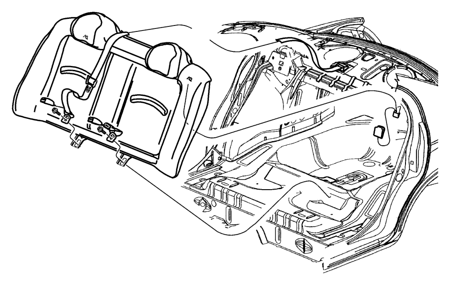 Dodge Neon Seat belt. Rear inner. [l5]. Trim: [all trim