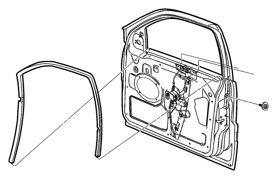 2002 Jeep Grand Cherokee Seal. Front door glass. Left