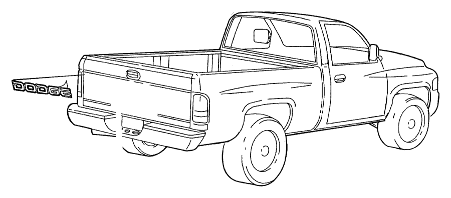 2000 Dodge Ram 1500 Decal. Dodge. Silver, silver, outlined