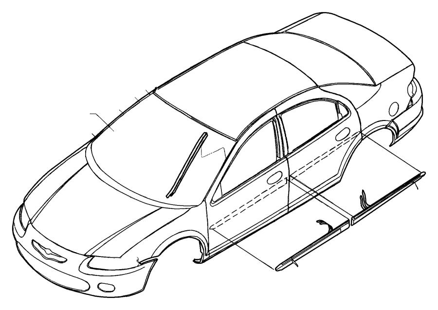 2005 Chrysler Sebring Molding. Rear door. Vinyl, color