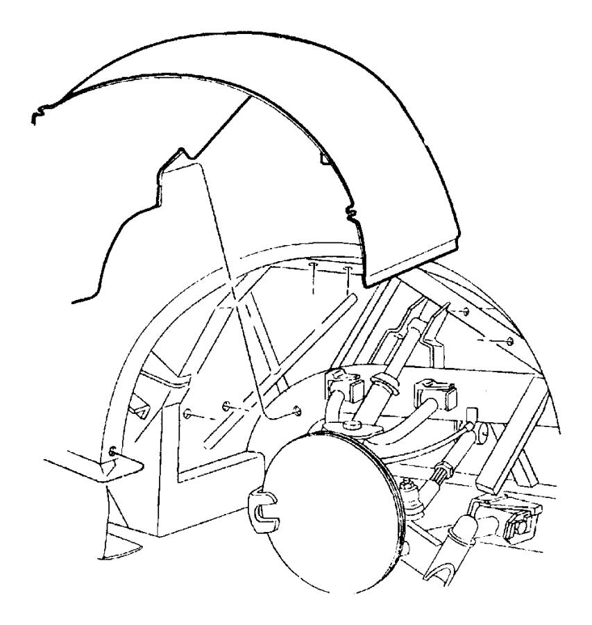 Dodge Viper Shield. Splash. Right. Glass, fender, cylinder