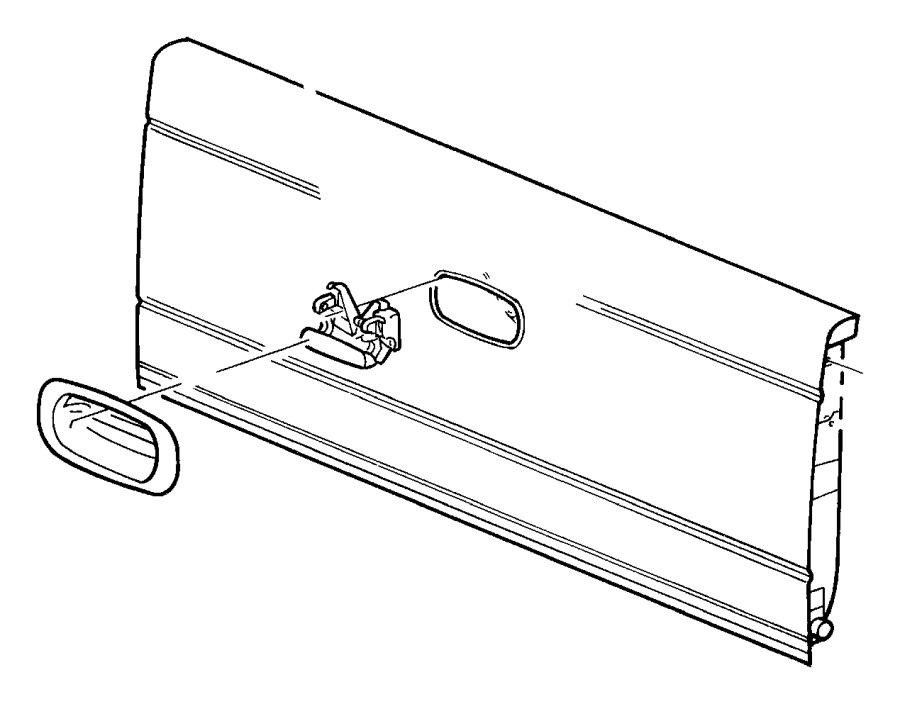 1998 Dodge Dakota Bezel. Tailgate handle. Body, wiring