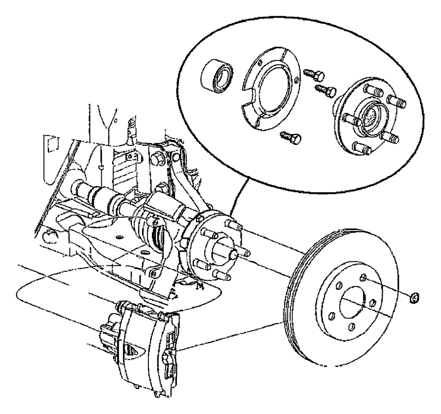 2010 Chrysler PT Cruiser Stud. Hub, mounting, used for