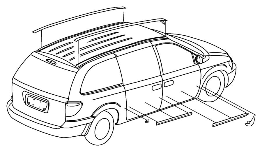 Chrysler Voyager Molding. Front door. Left. [[stripe/badge
