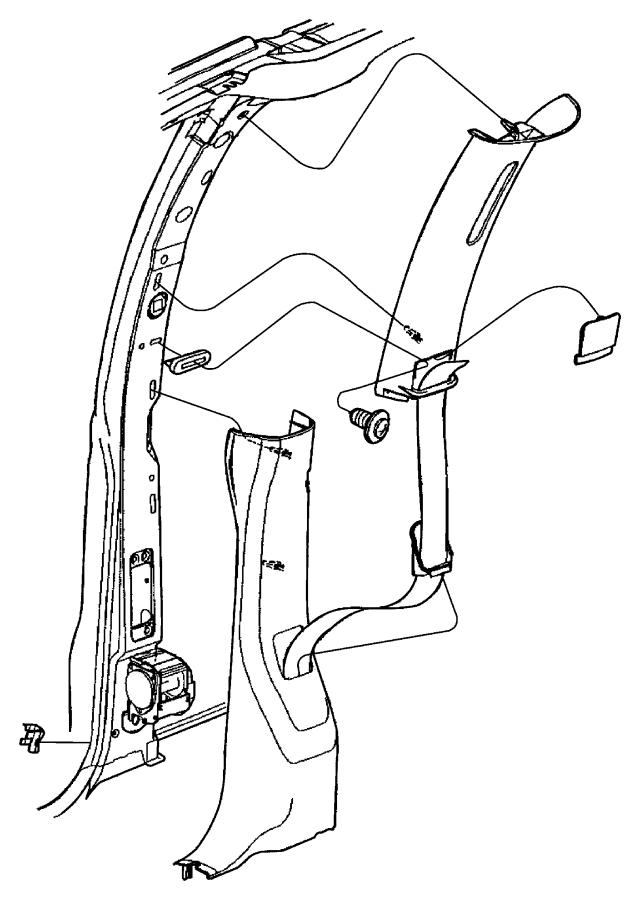 2001 Chrysler Town & Country Molding. B-pillar. Left