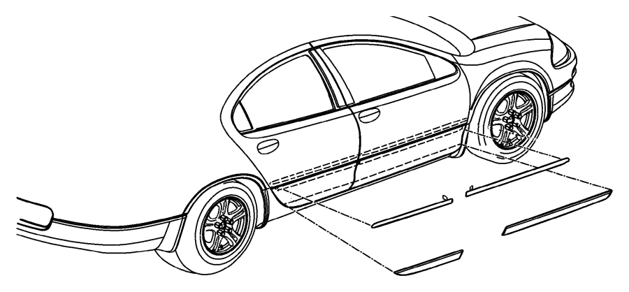 Chrysler Concorde Molding. Rear door. Color, badge, stripe