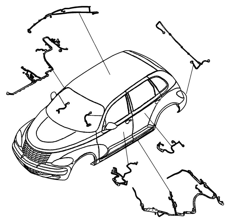 Chrysler PT Cruiser Wiring. Front door. Left. Fold, power