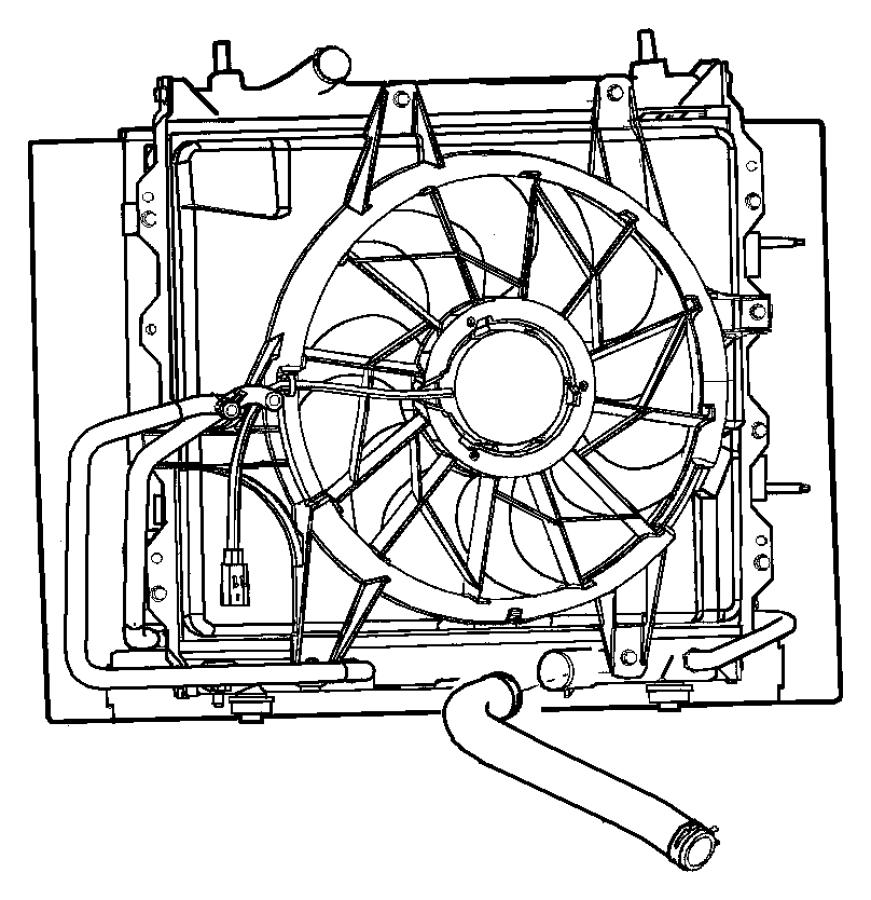 2005 Chrysler PT Cruiser Fan module. Radiator cooling. Air