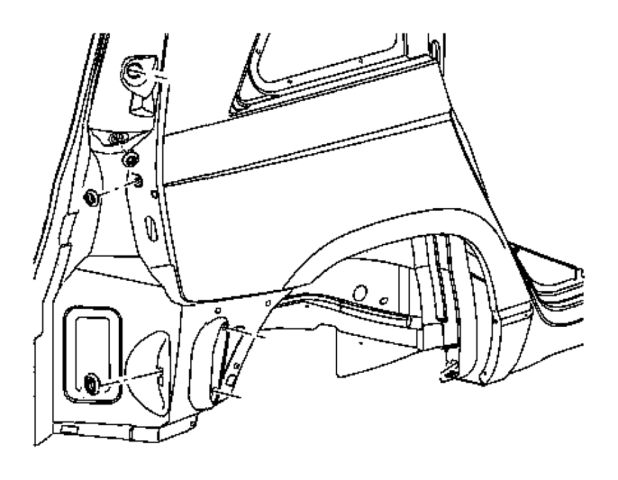 2001 Dodge Caravan Plug. Shock tower hole. Rear, right