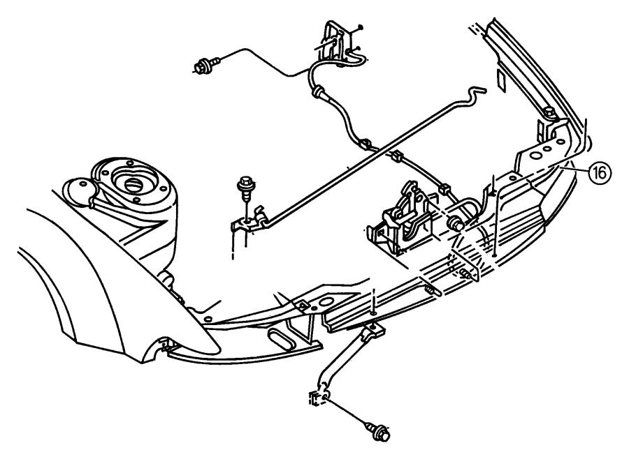 Chrysler Sebring Lever. Remote hood release. Inside. Hood